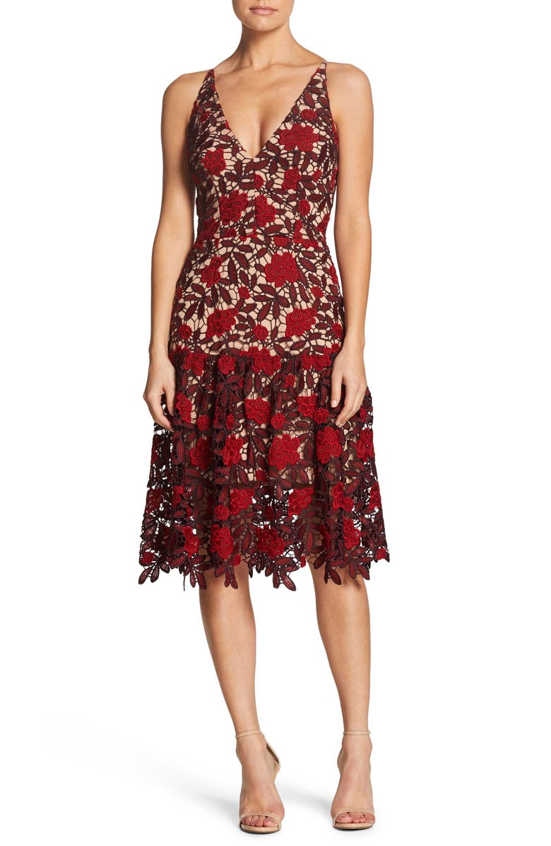 Dress The Population Lily Plunge Lace Fit Amp Flare Dress