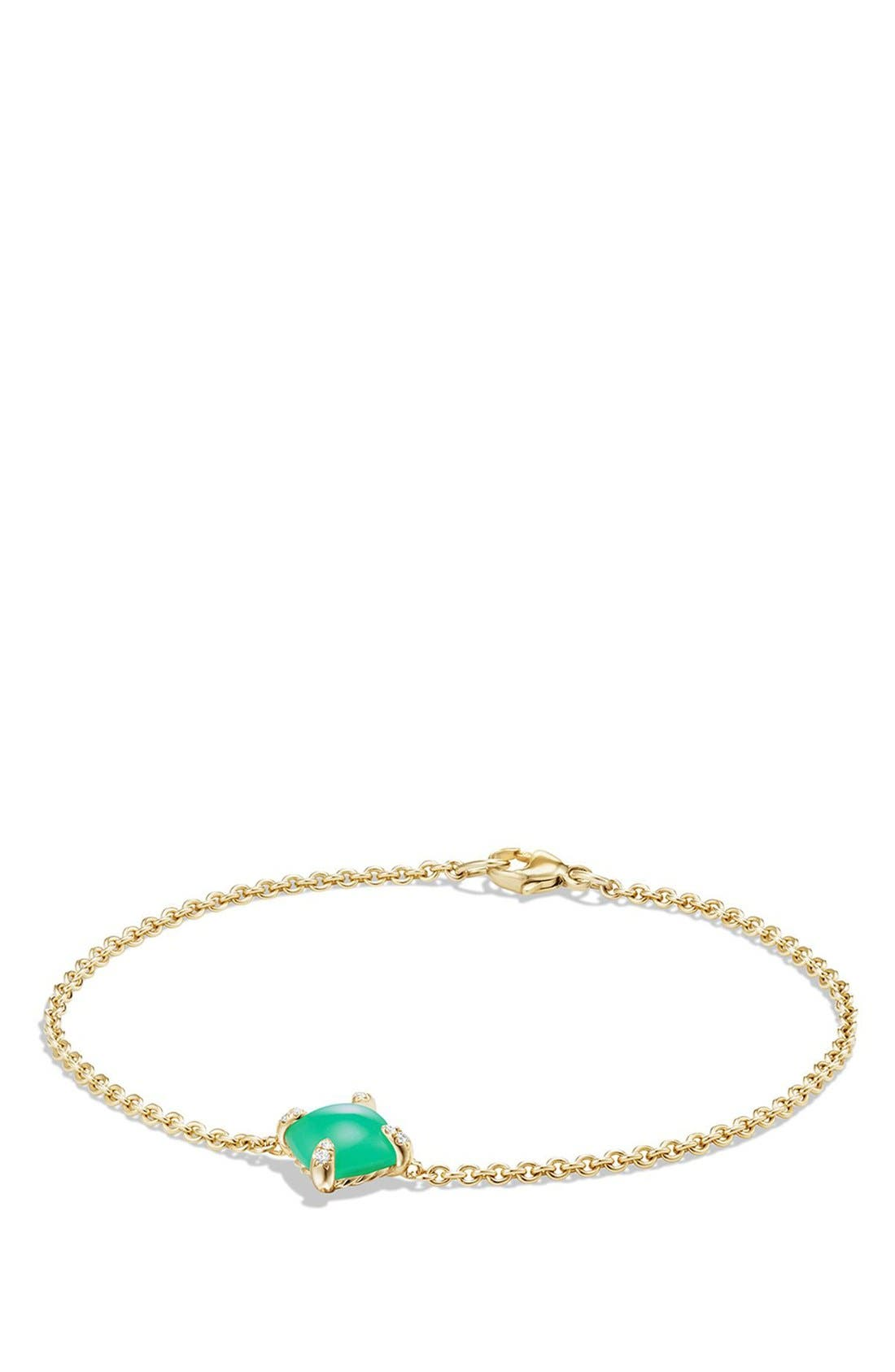 'Châtelaine' Bracelet with Diamonds in 18K Gold,                         Main,                         color, CHRYSOPRASE