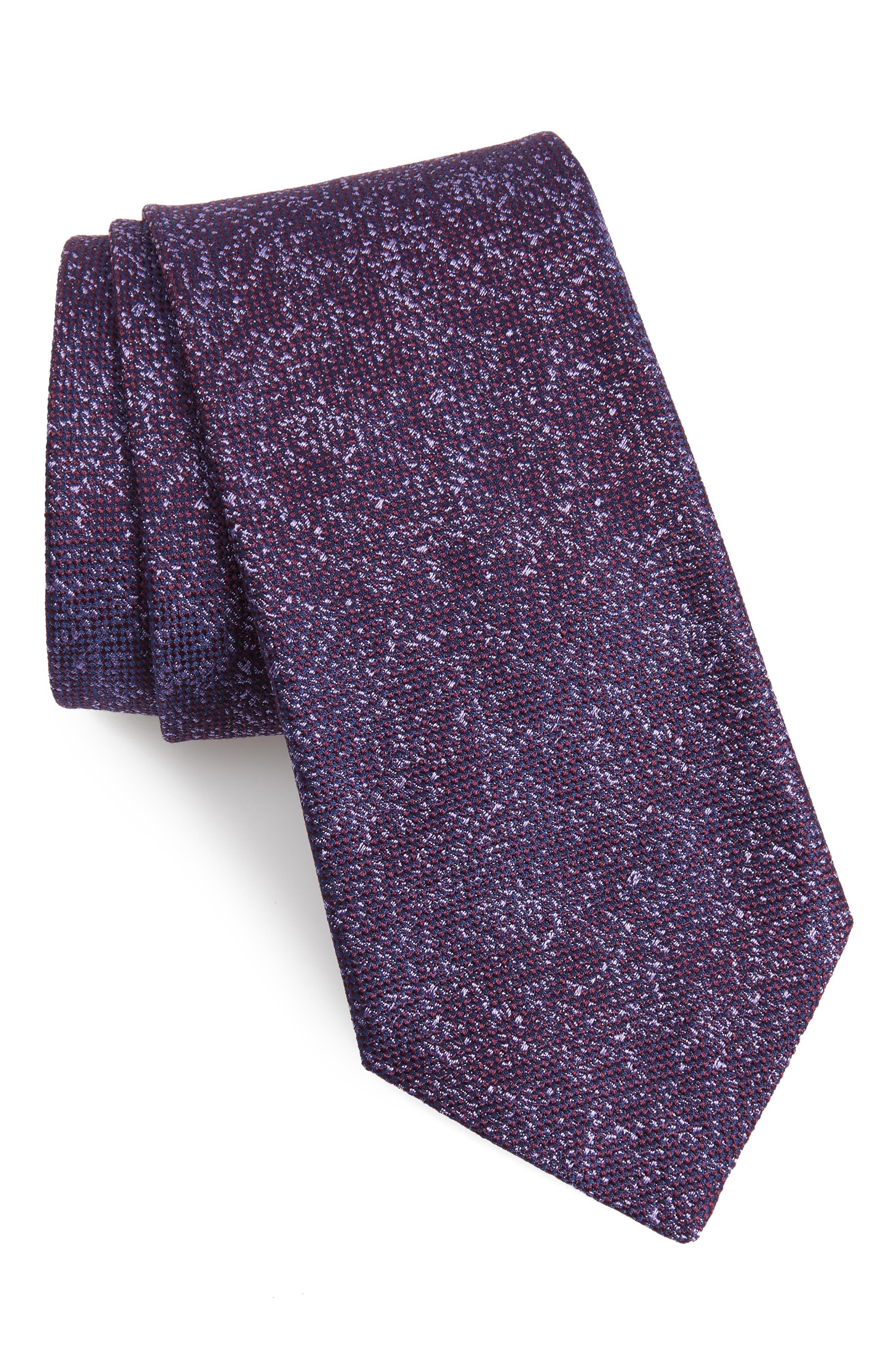Solid Silk Tie, Main, color, PURPLE
