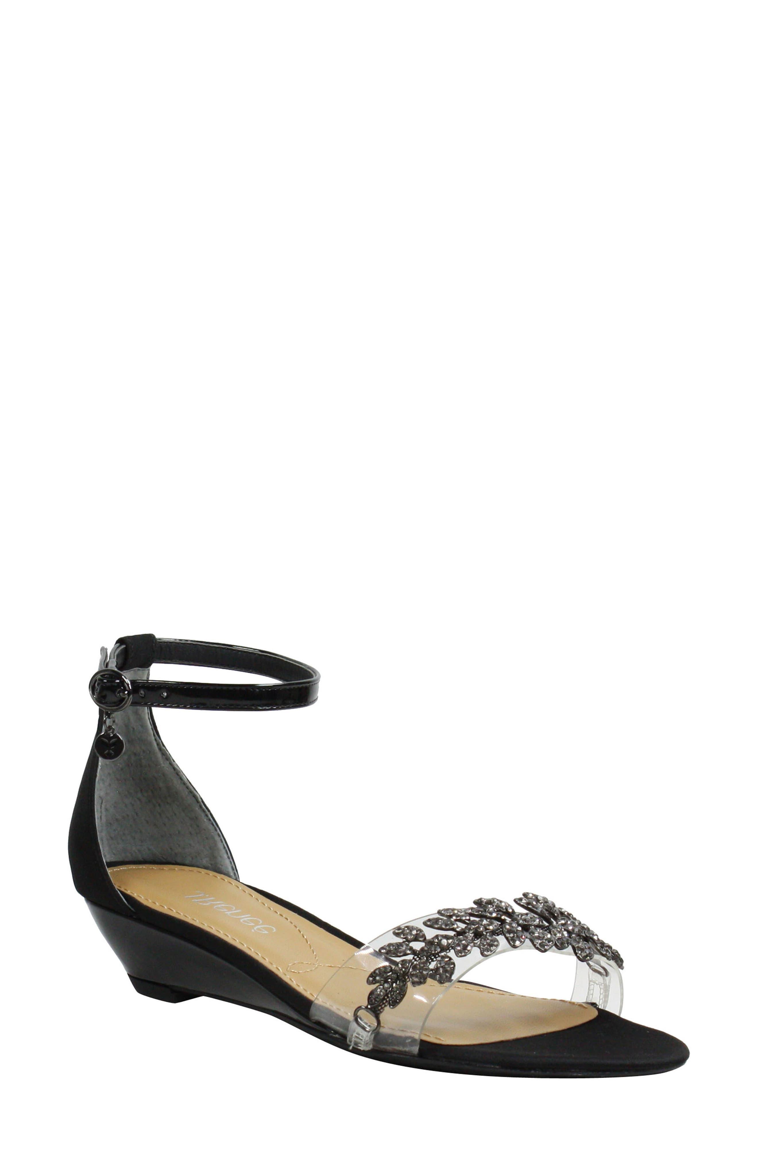 Evania Ankle Strap Sandal,                             Main thumbnail 1, color,                             BLACK SATIN