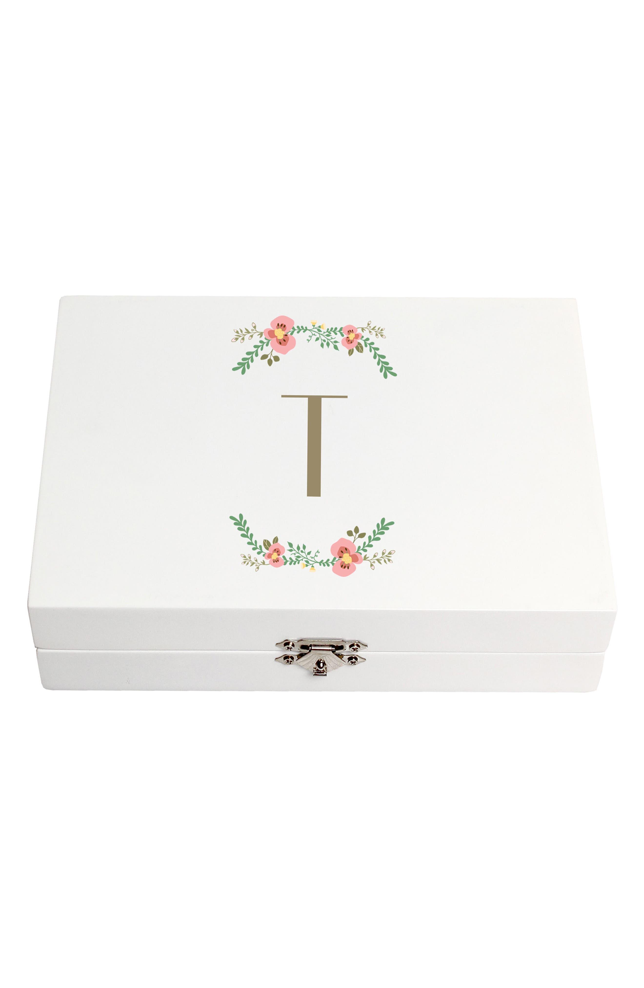 Monogram Floral Wedding Ring Box,                             Main thumbnail 20, color,