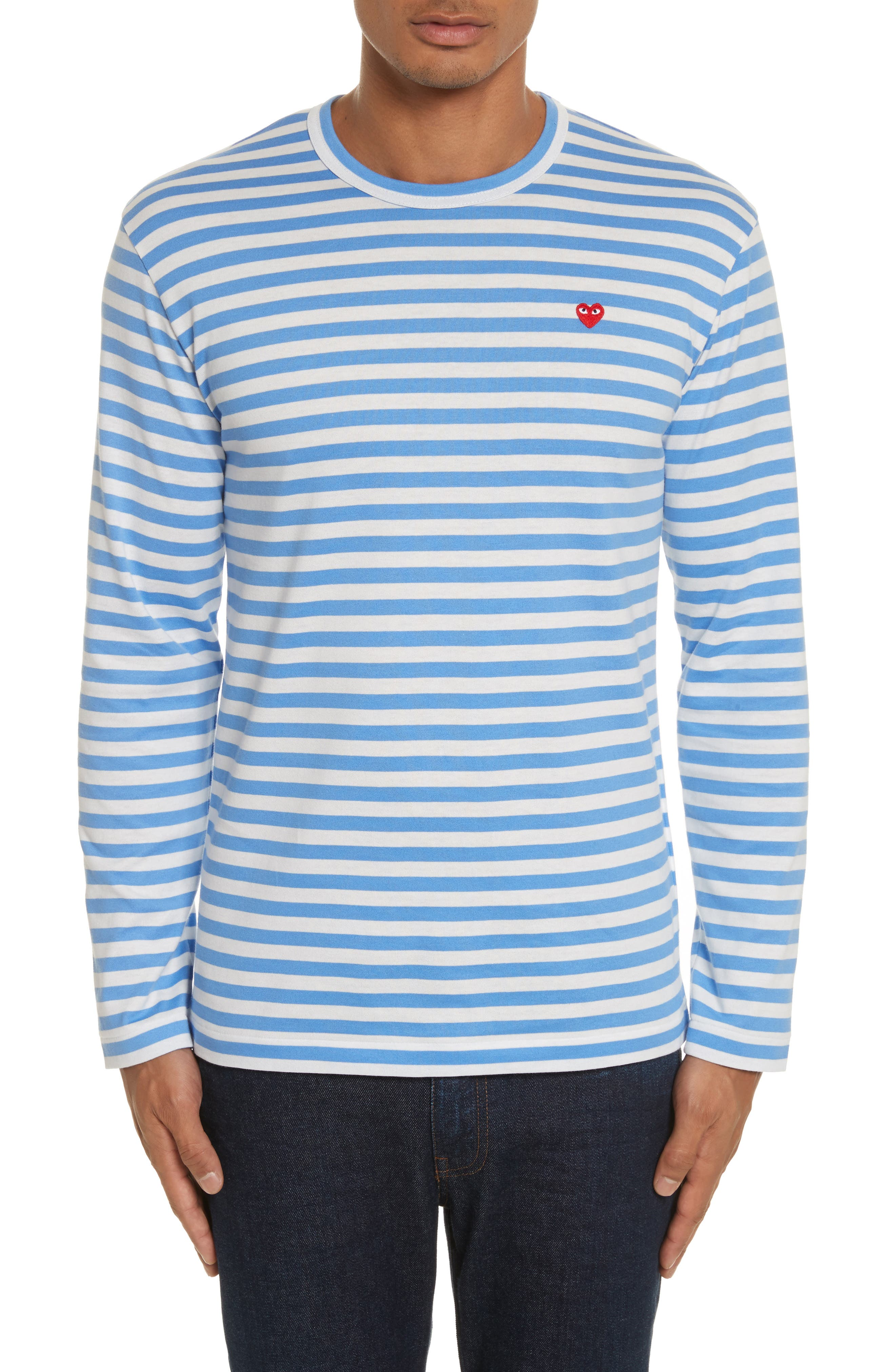 Long Sleeve Stripe Crewneck T-Shirt,                             Main thumbnail 1, color,                             BLUE