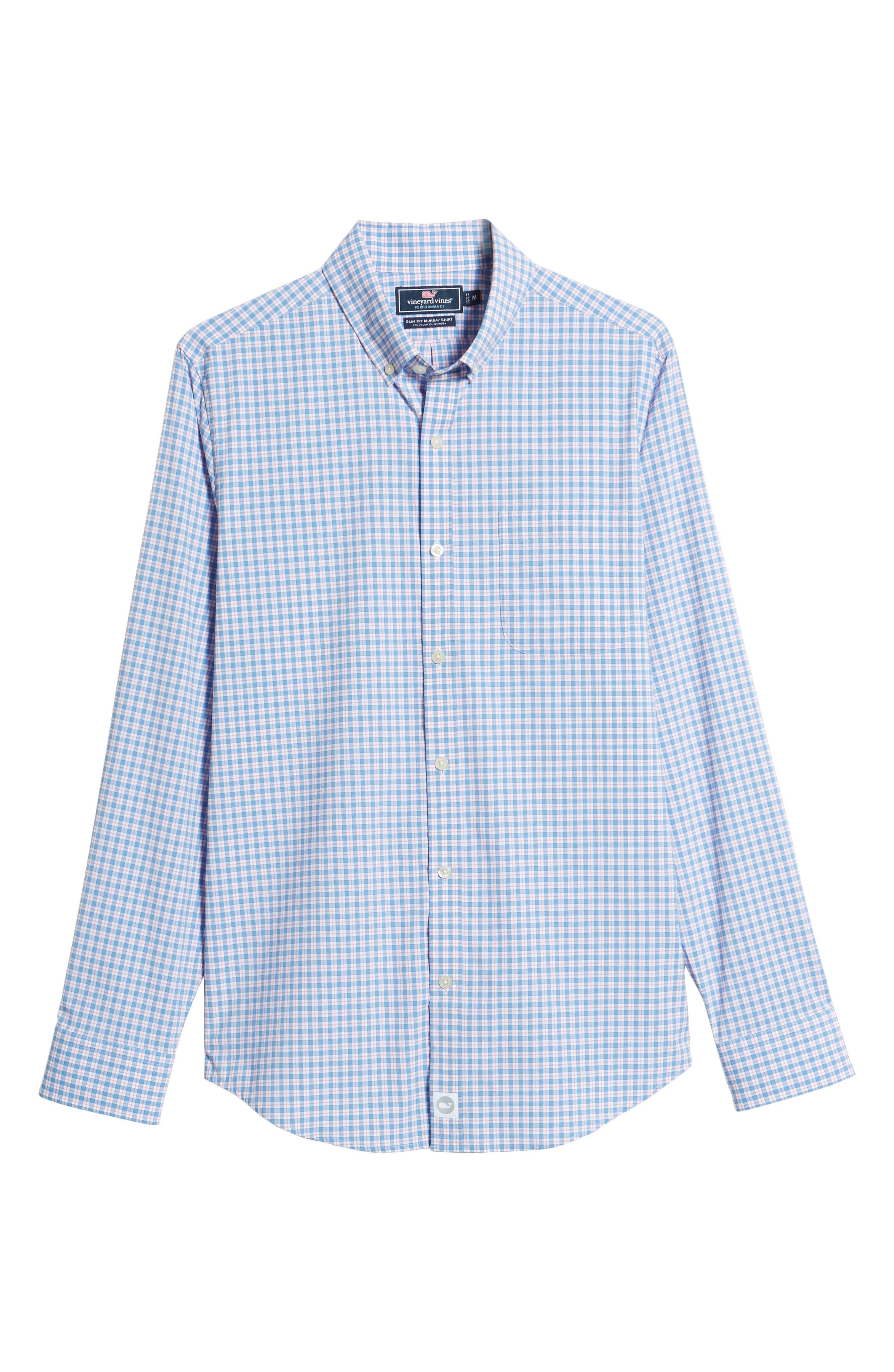 Oyster Pond Slim Fit Plaid Sport Shirt,                             Alternate thumbnail 6, color,                             OCEAN BREEZE