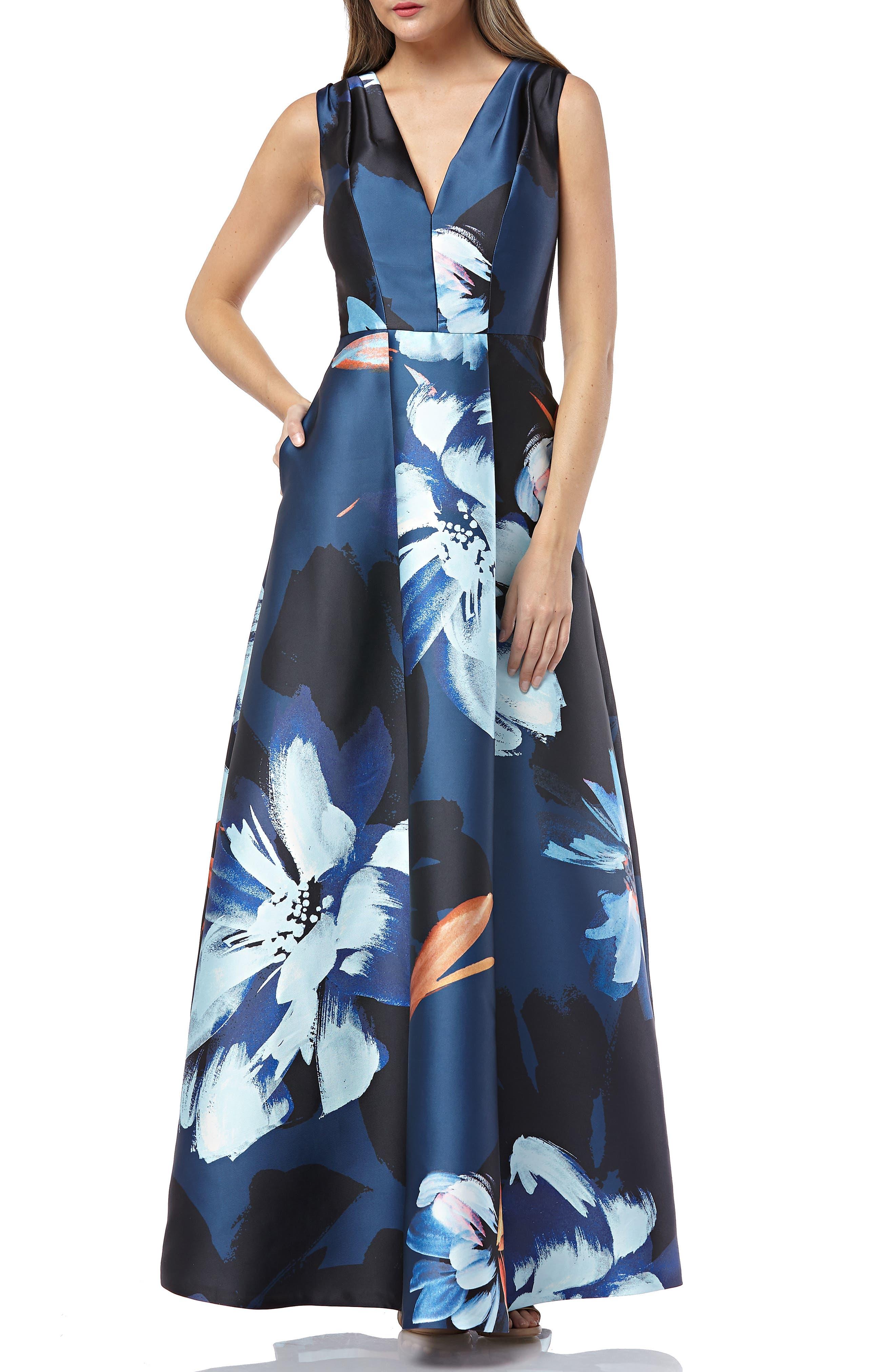 Kay Unger Sleeveless Print Mikado Dress, Blue