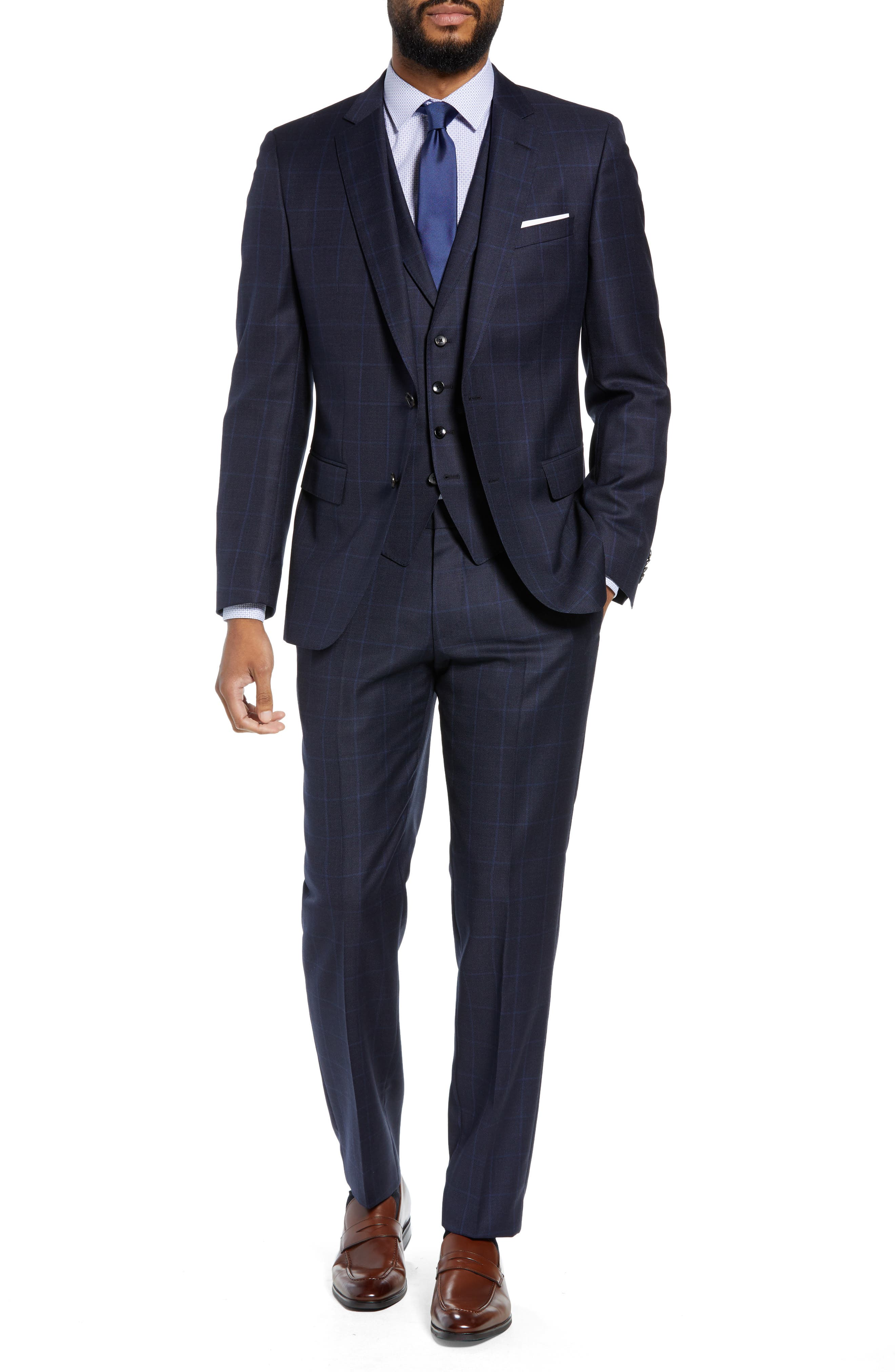 Huge/Genius Trim Fit Windowpane Wool Three-Piece Suit,                             Alternate thumbnail 6, color,                             480