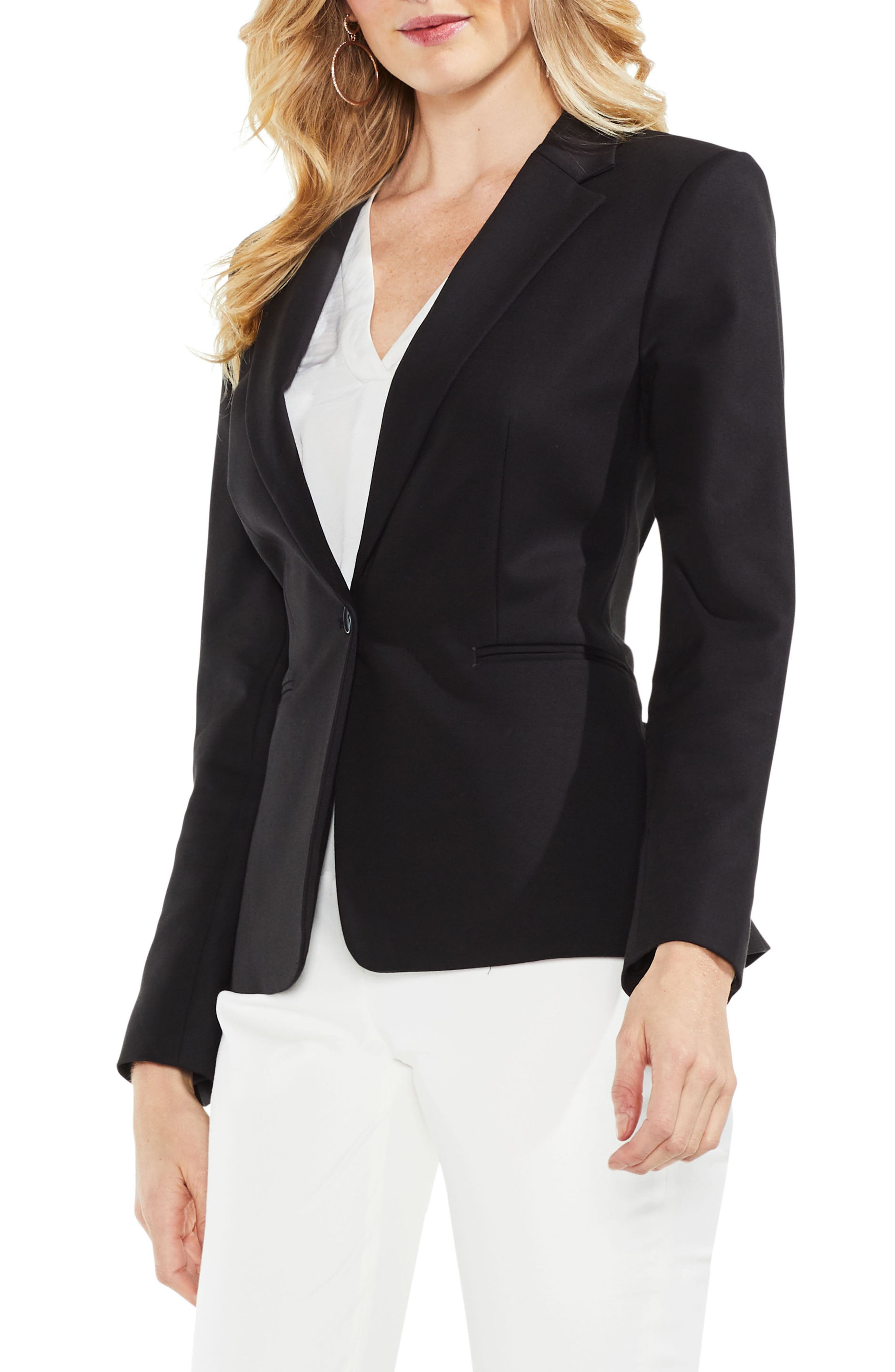 Lace-Up Back Double Weave Blazer,                             Alternate thumbnail 3, color,                             RICH BLACK