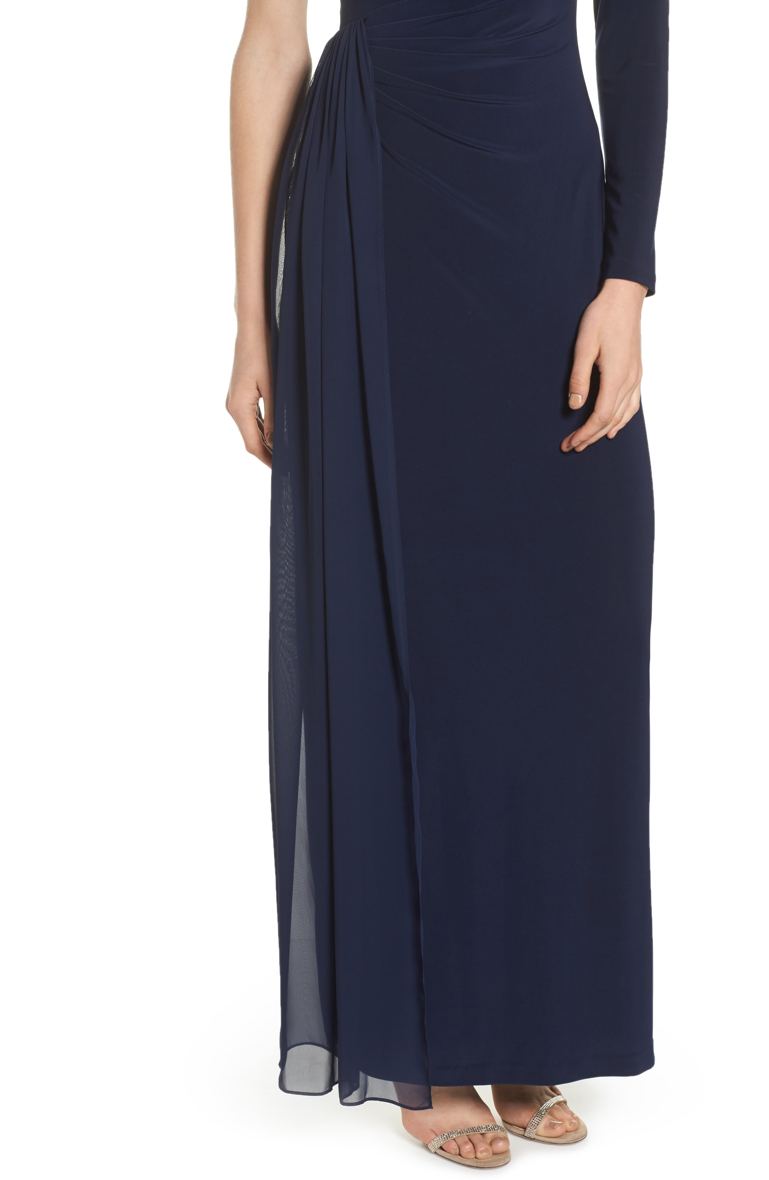 Chiffon Overlay One-Shoulder Gown,                             Alternate thumbnail 4, color,                             410