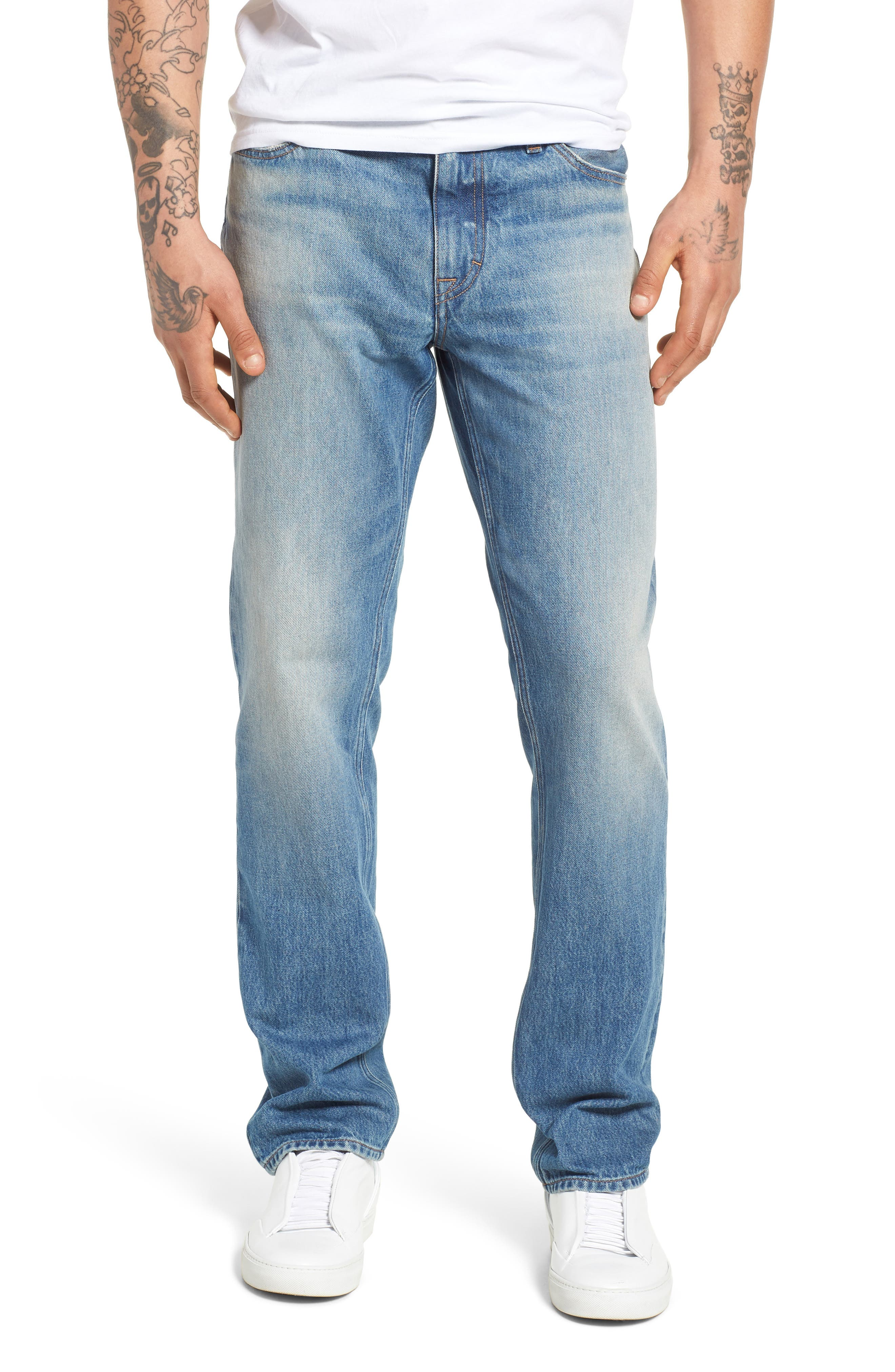 Slim Straight Fit Jeans,                             Main thumbnail 1, color,                             400