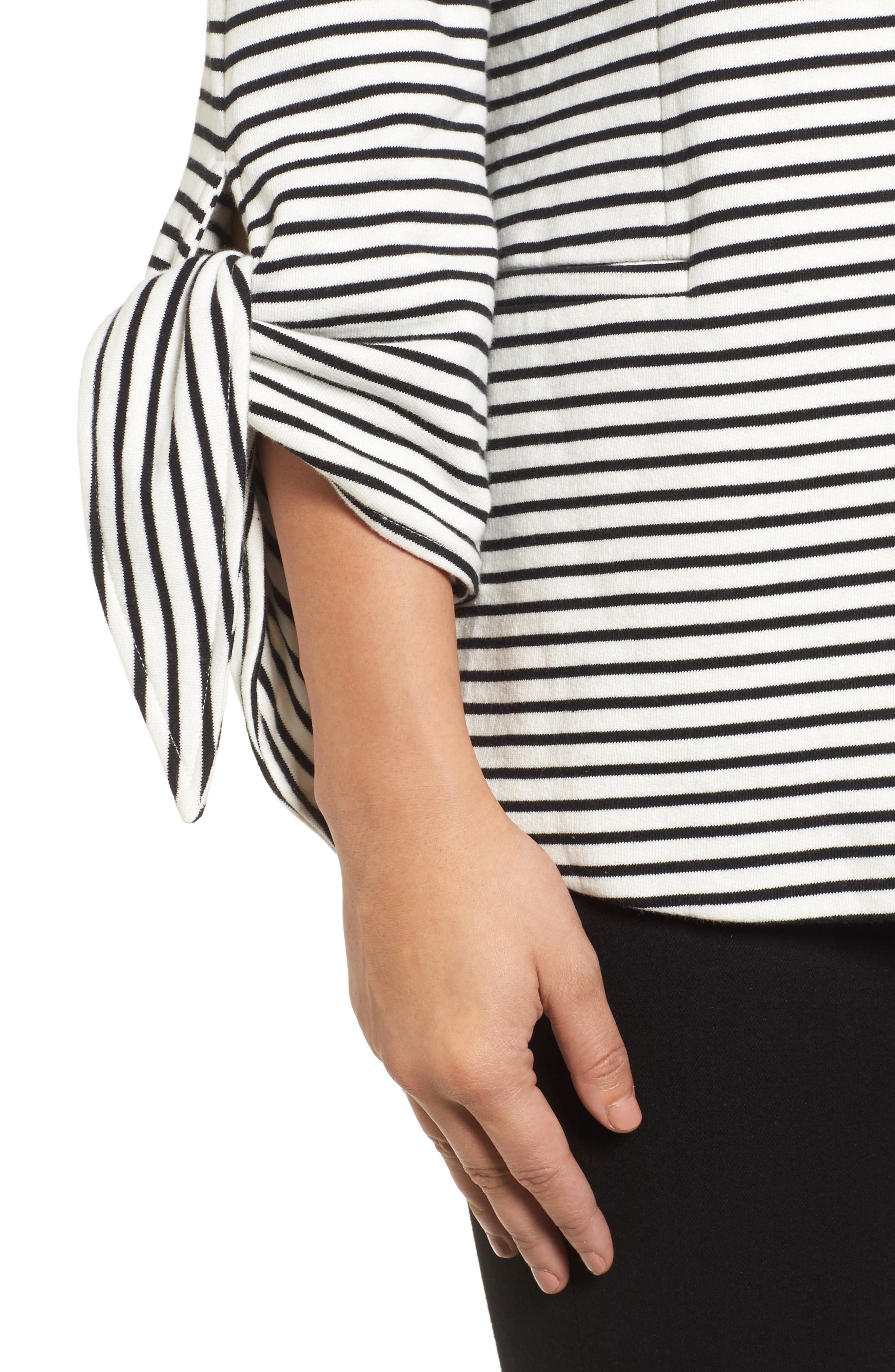 Tie Sleeve Knit Blazer,                             Alternate thumbnail 4, color,                             008