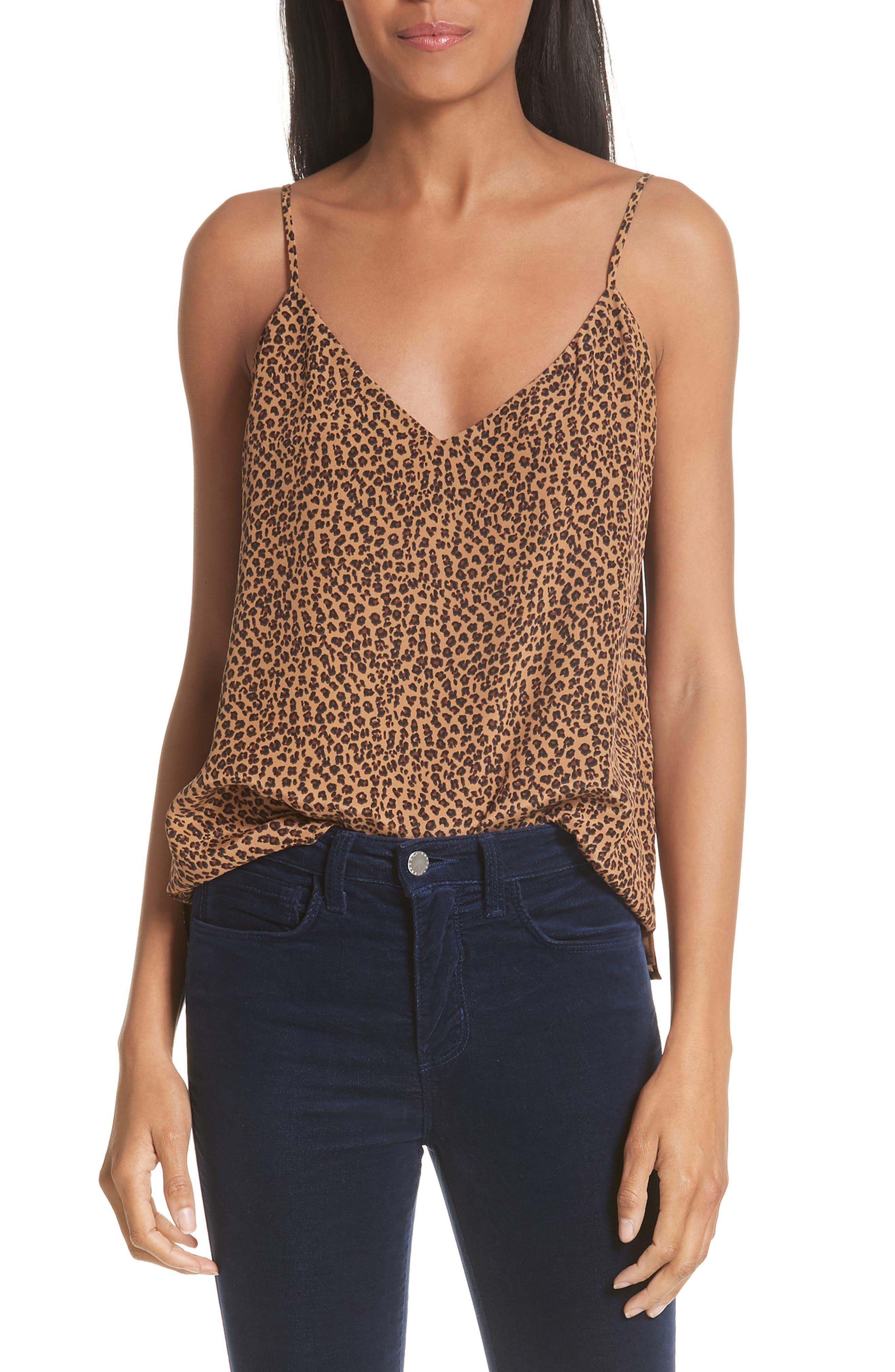 Jane Leopard Print Silk Camisole,                         Main,                         color, BLACK MULTI