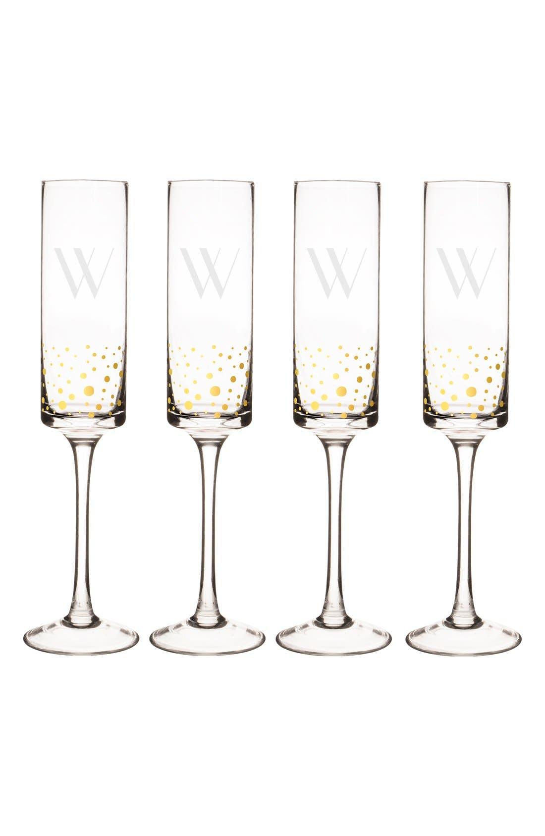 Gold Dot Monogram Champagne Flutes,                             Alternate thumbnail 2, color,                             710