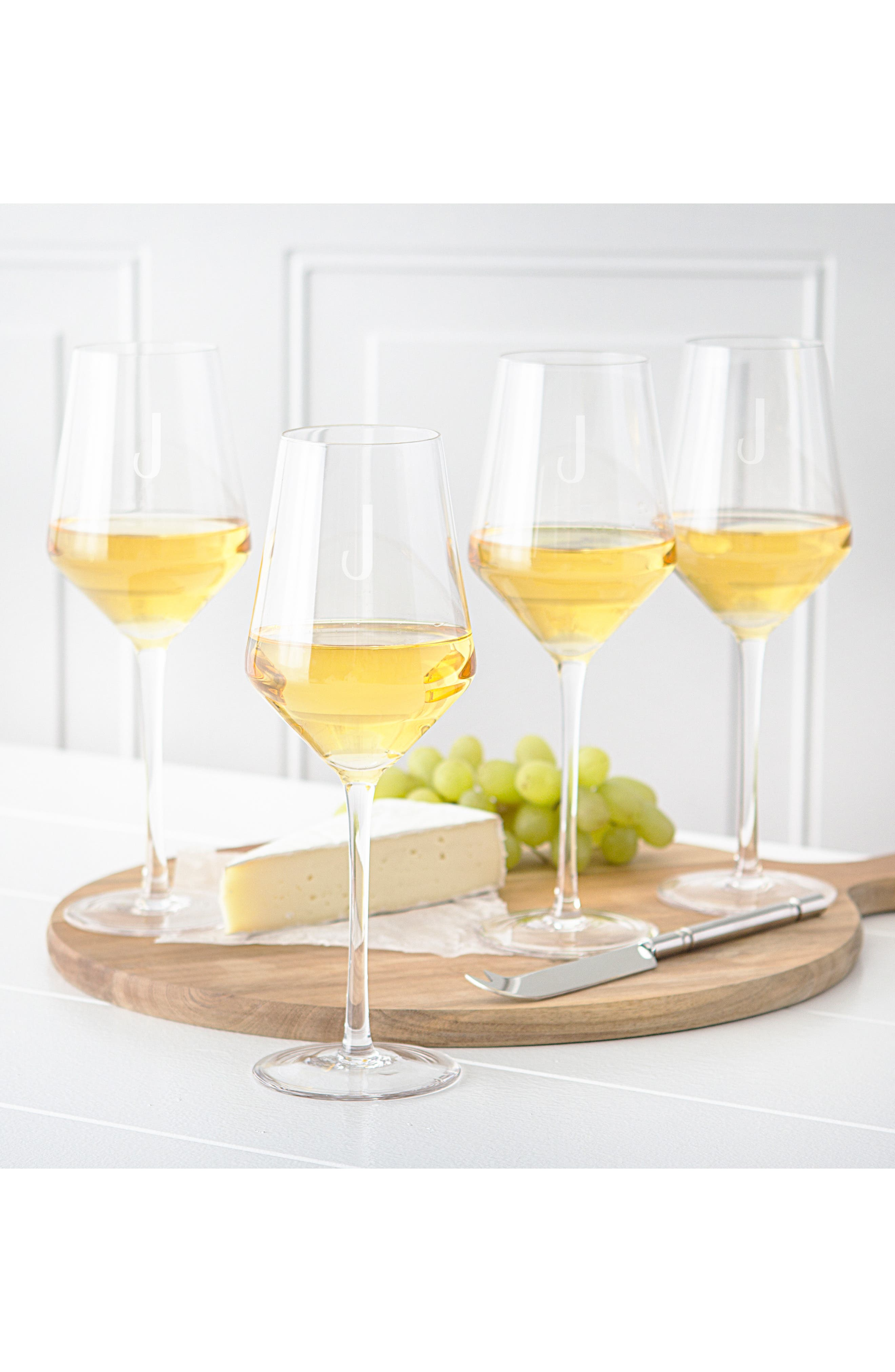 Estate Collection Set of 4 Monogram White Wine Glasses,                             Alternate thumbnail 3, color,                             100