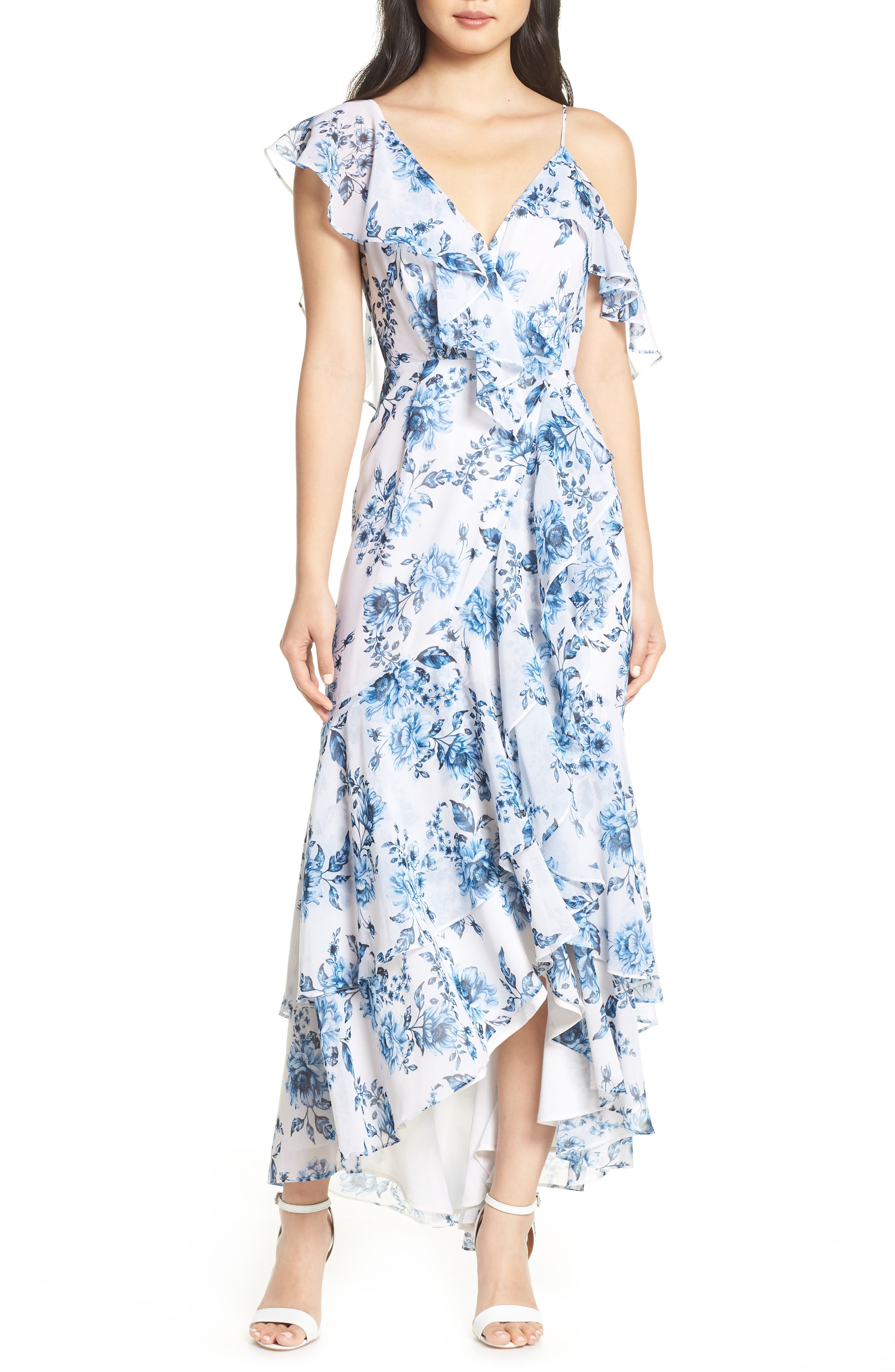 Elanor Ruffle Faux Wrap Maxi Dress,                         Main,                         color, BLUE TOILE FLORAL