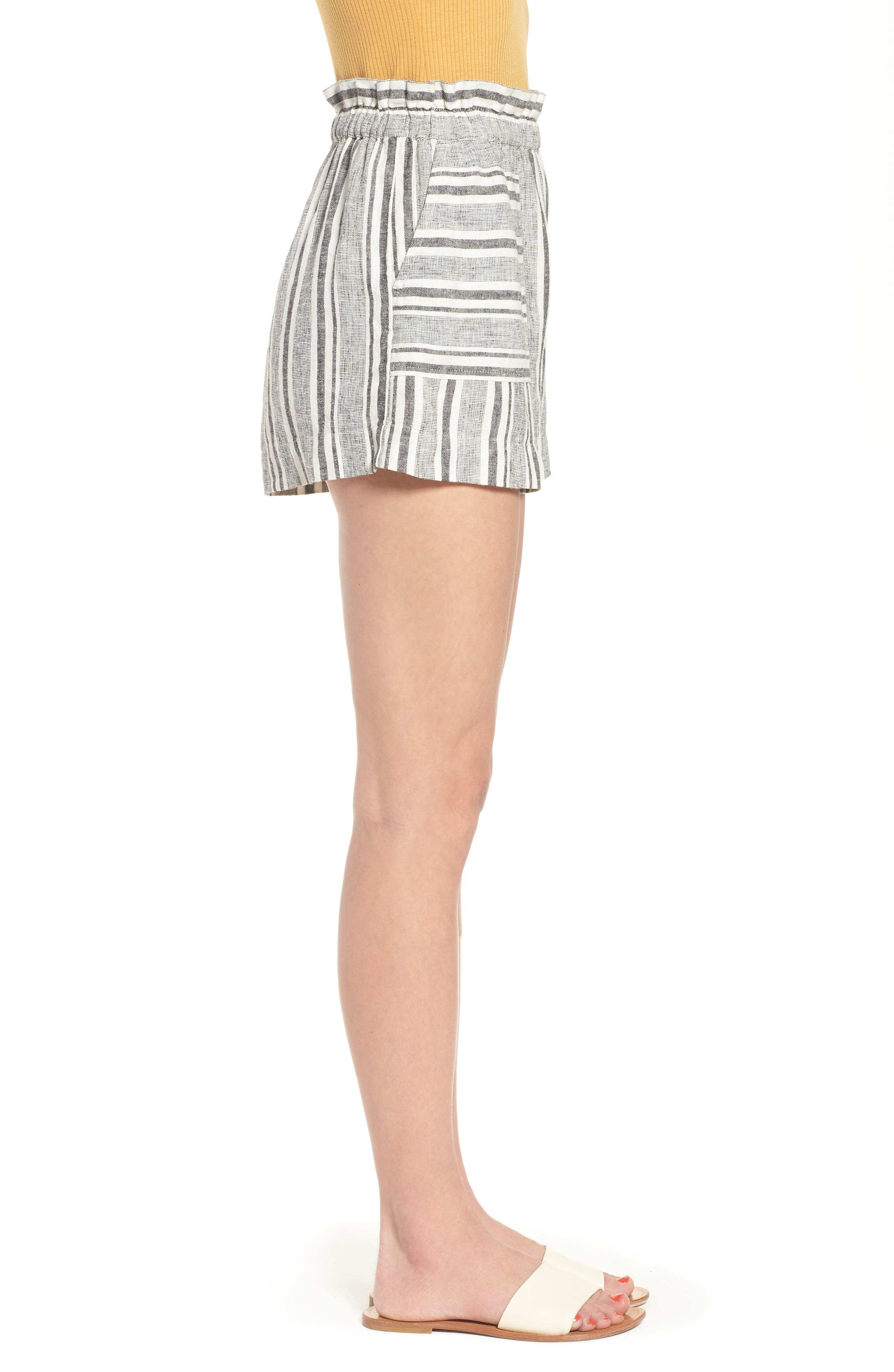 Stripe Linen Blend Shorts,                             Alternate thumbnail 3, color,                             BLACK VIOLA STRIPE