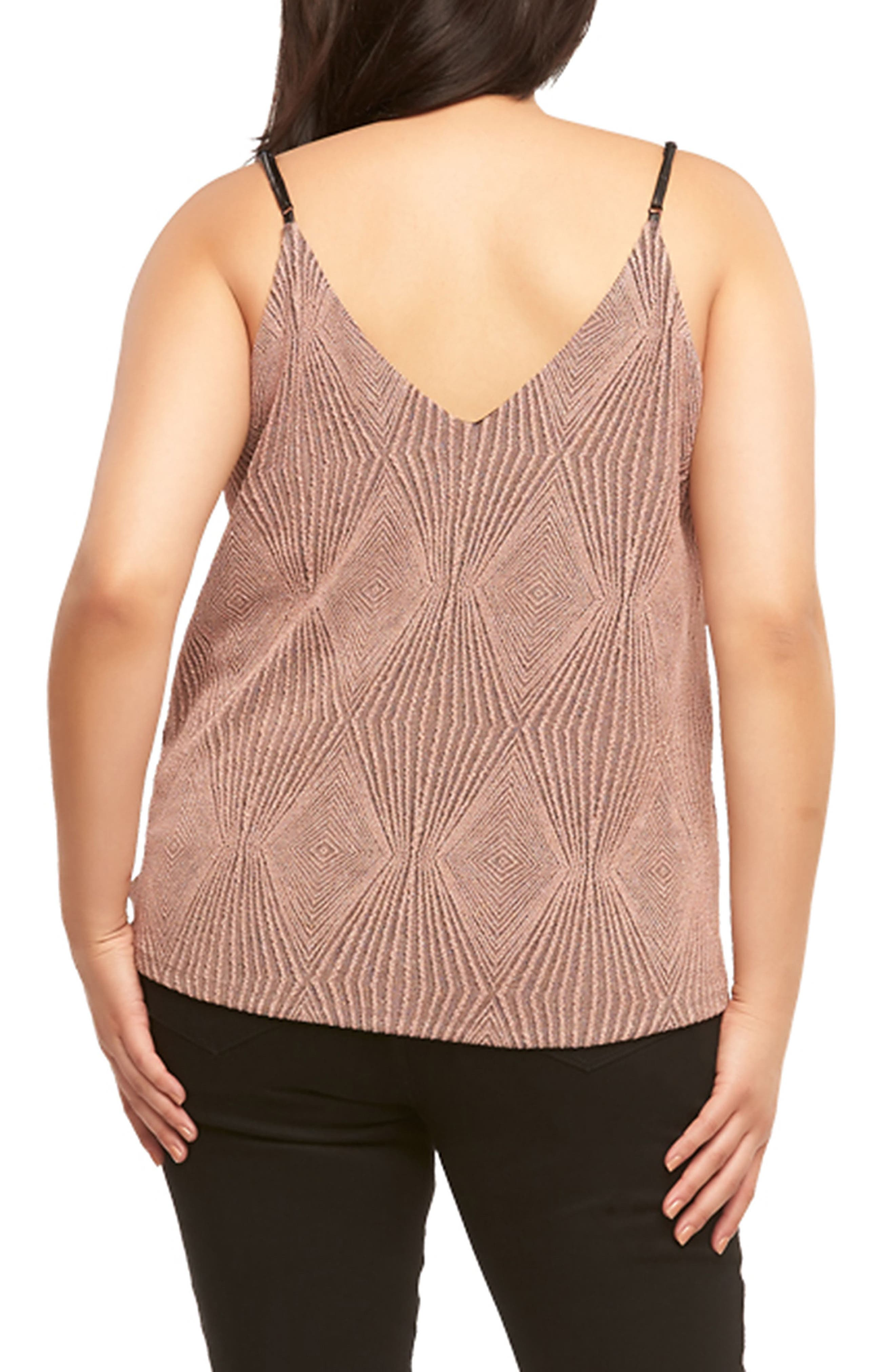 Marena Metallic V-Neck Tank,                             Alternate thumbnail 2, color,