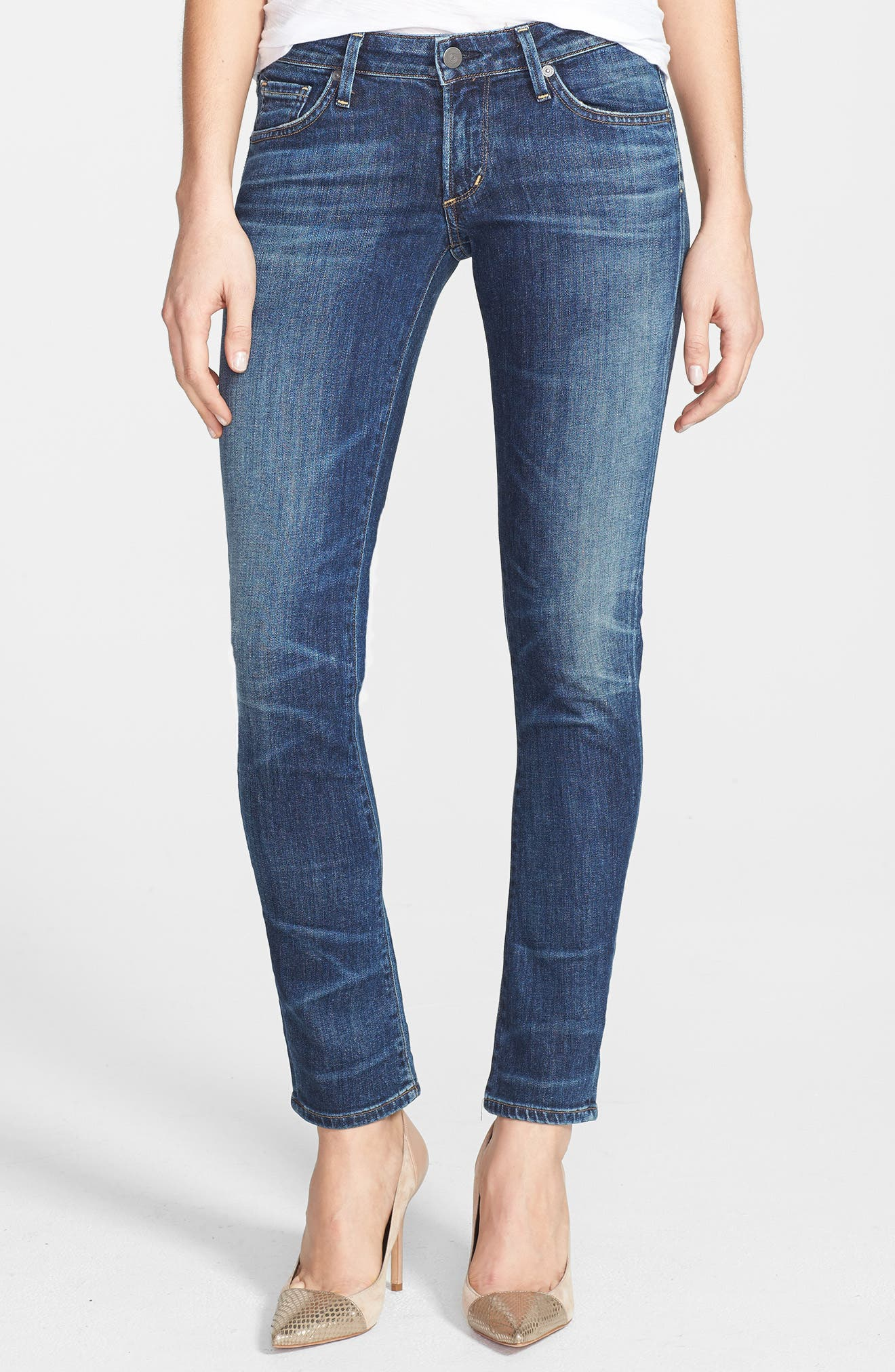 'Racer' Whiskered Skinny Jeans,                             Main thumbnail 1, color,                             PATINA