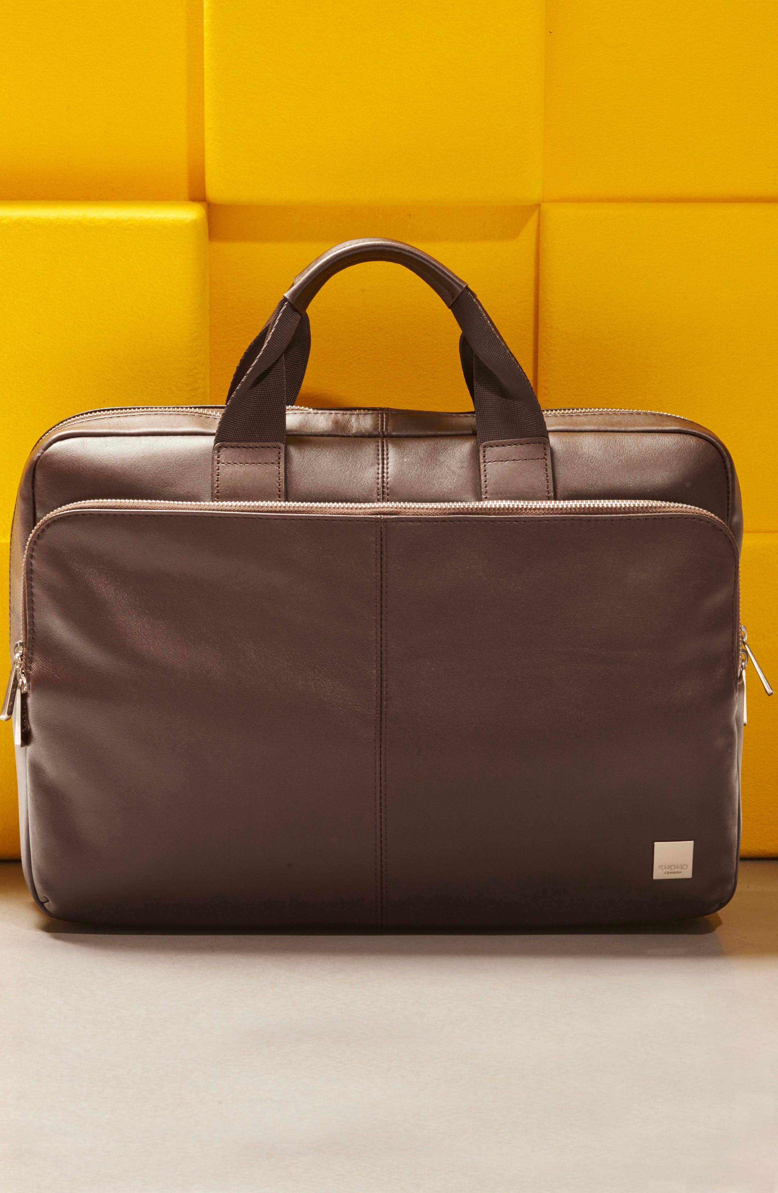 Brompton Amesbury Leather Briefcase,                             Alternate thumbnail 5, color,                             BROWN