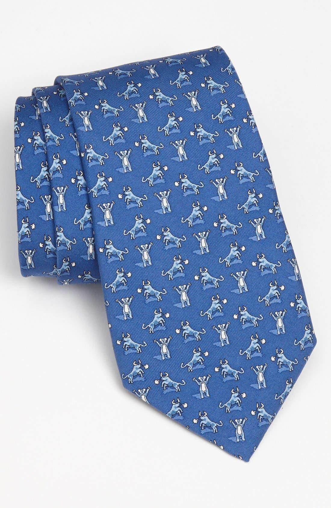 'Bull and Bear' Silk Tie,                         Main,                         color, 420