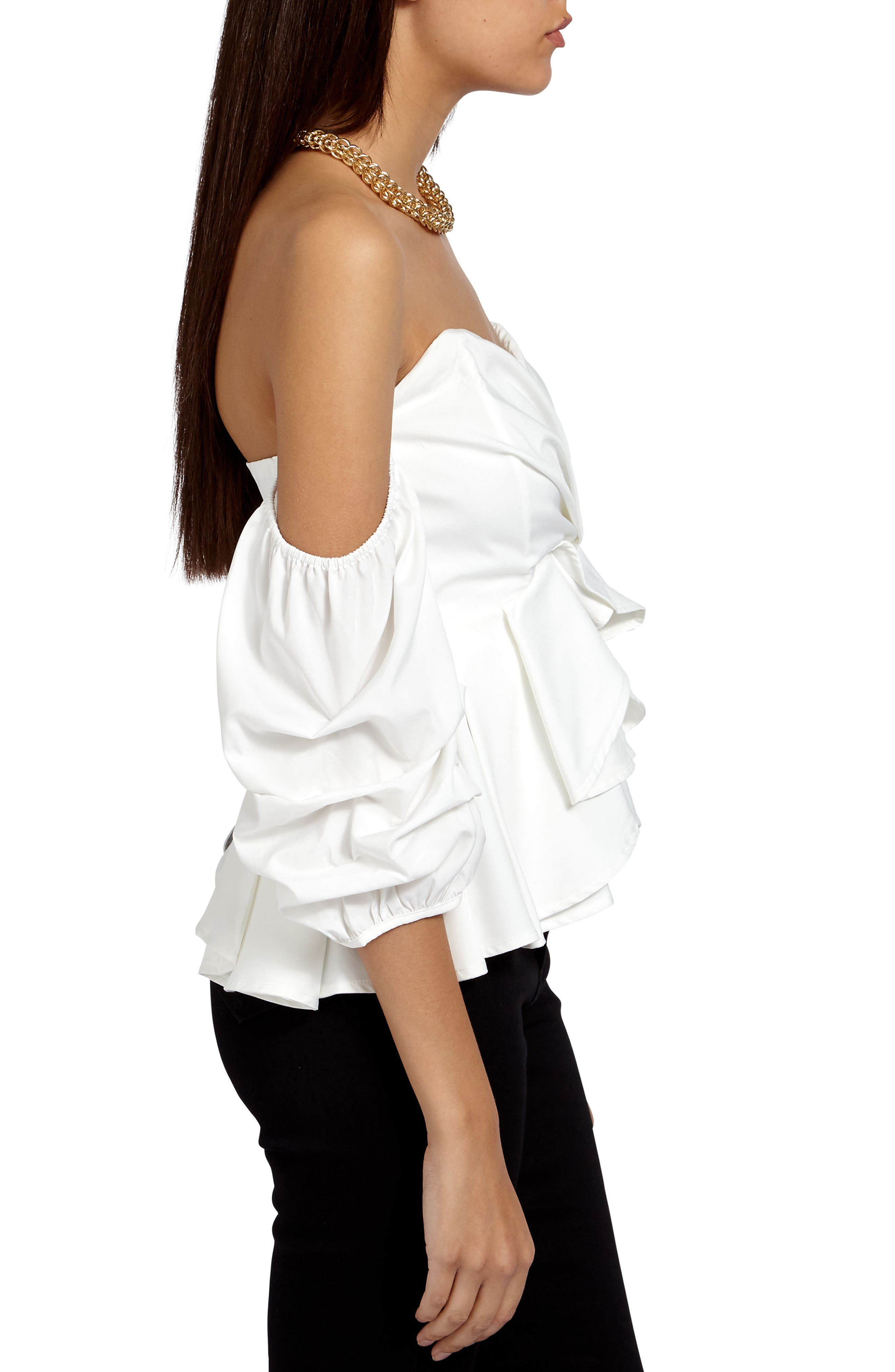 Off the Shoulder Ruffle Crop Top,                             Alternate thumbnail 3, color,                             900