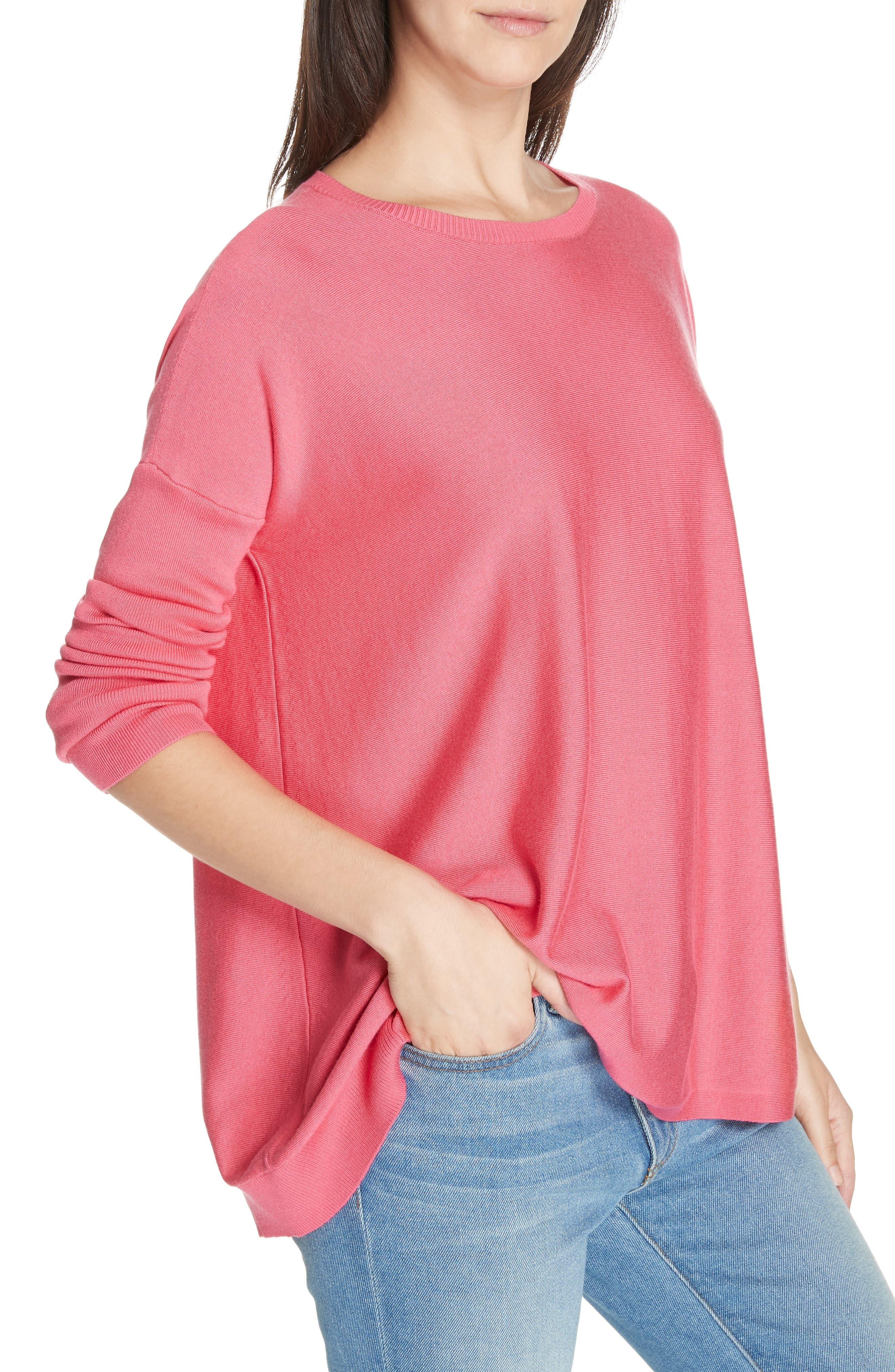 Tencel<sup>®</sup> Lyocell Blend Sweater,                             Alternate thumbnail 4, color,                             CHERRY LANE