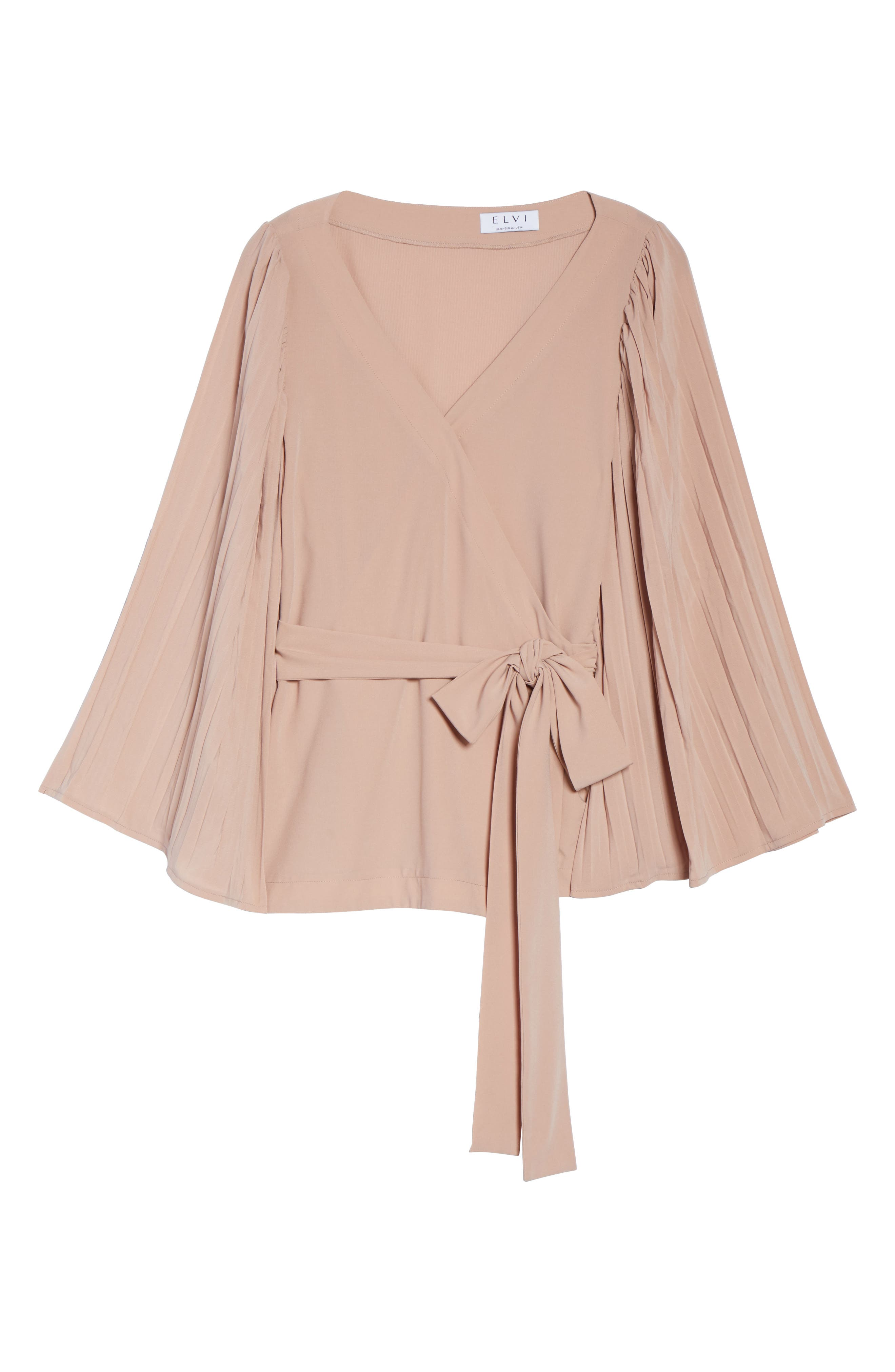 The Luster Pleat Sleeve Wrap Top,                             Alternate thumbnail 6, color,                             PINK