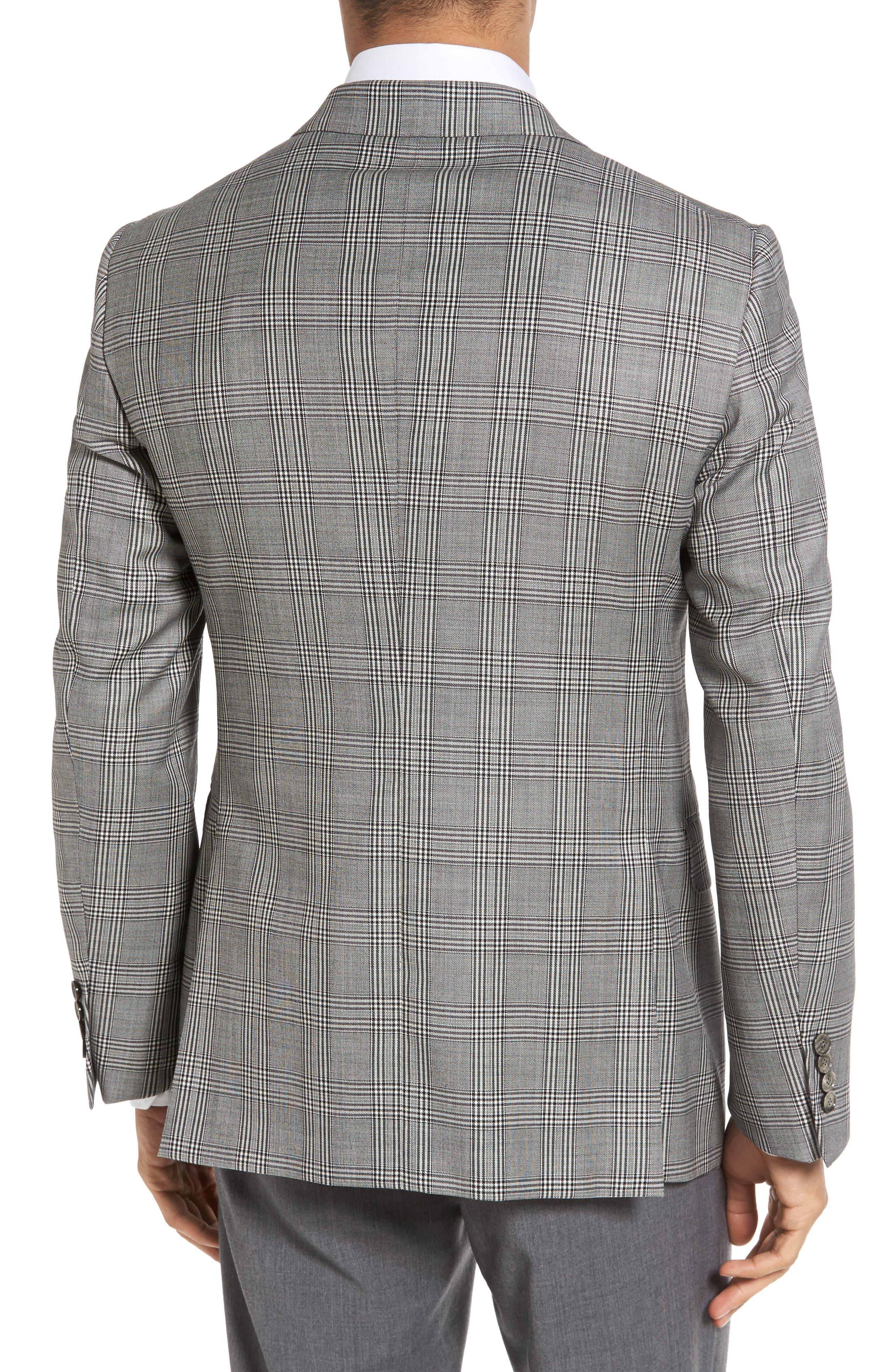 Classic Fit Plaid Wool Sport Coat,                             Alternate thumbnail 2, color,                             001