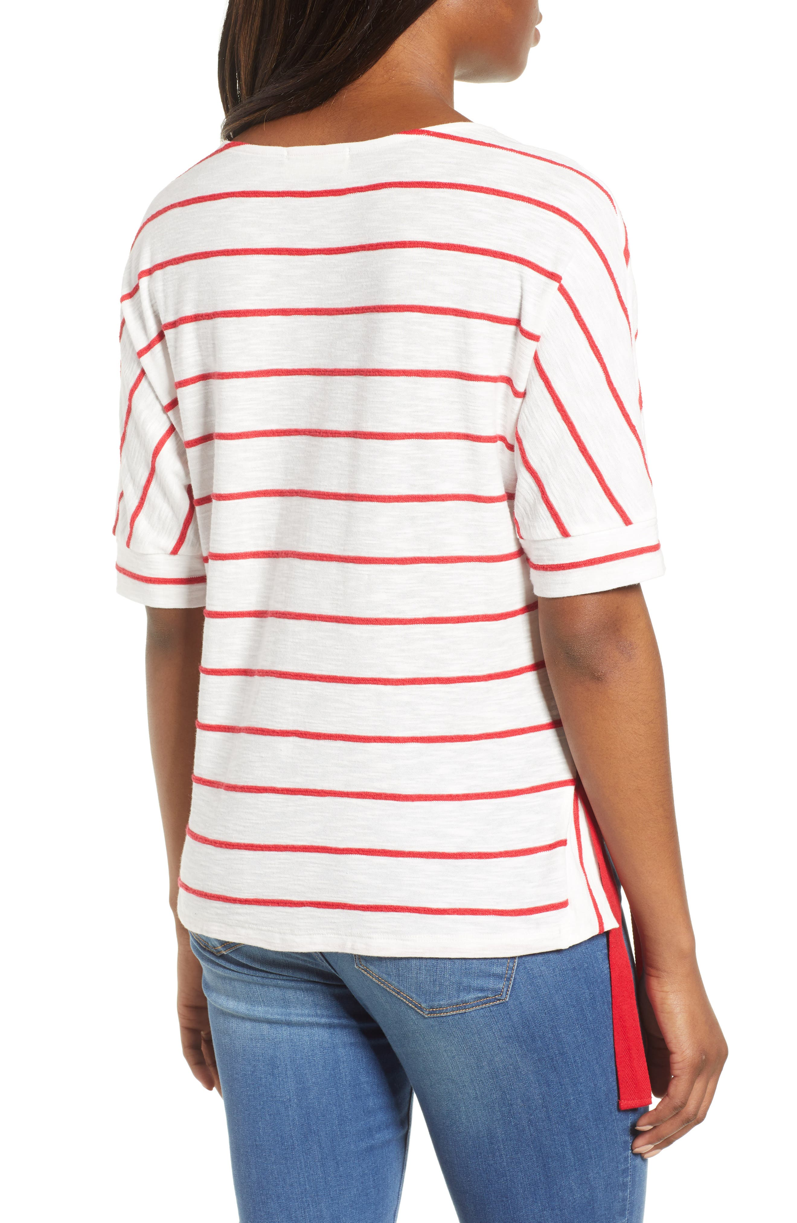 Side Tie Stripe Tee,                             Alternate thumbnail 6, color,