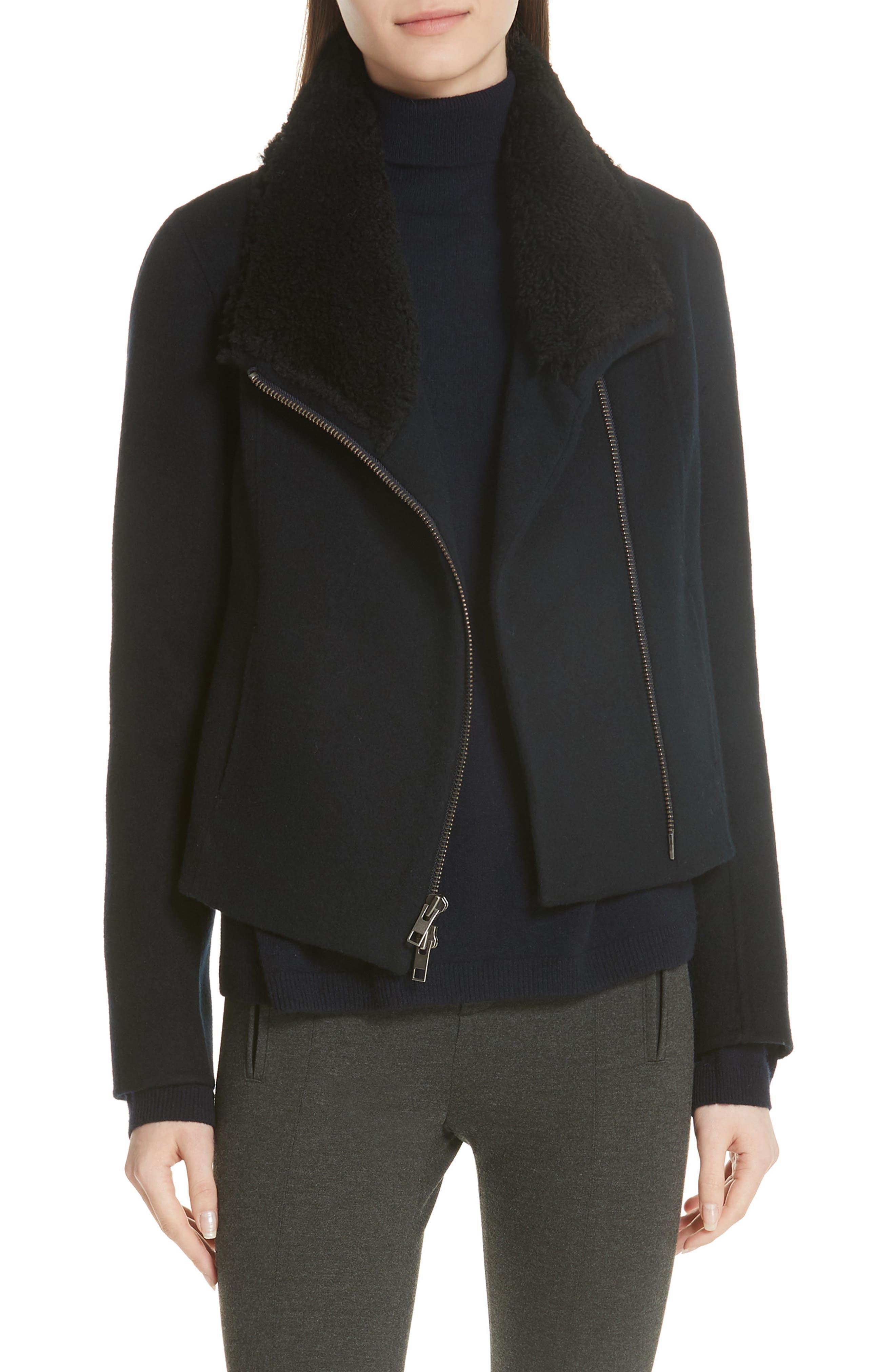Double Face Genuine Shearling Collar Jacket,                         Main,                         color, COASTAL