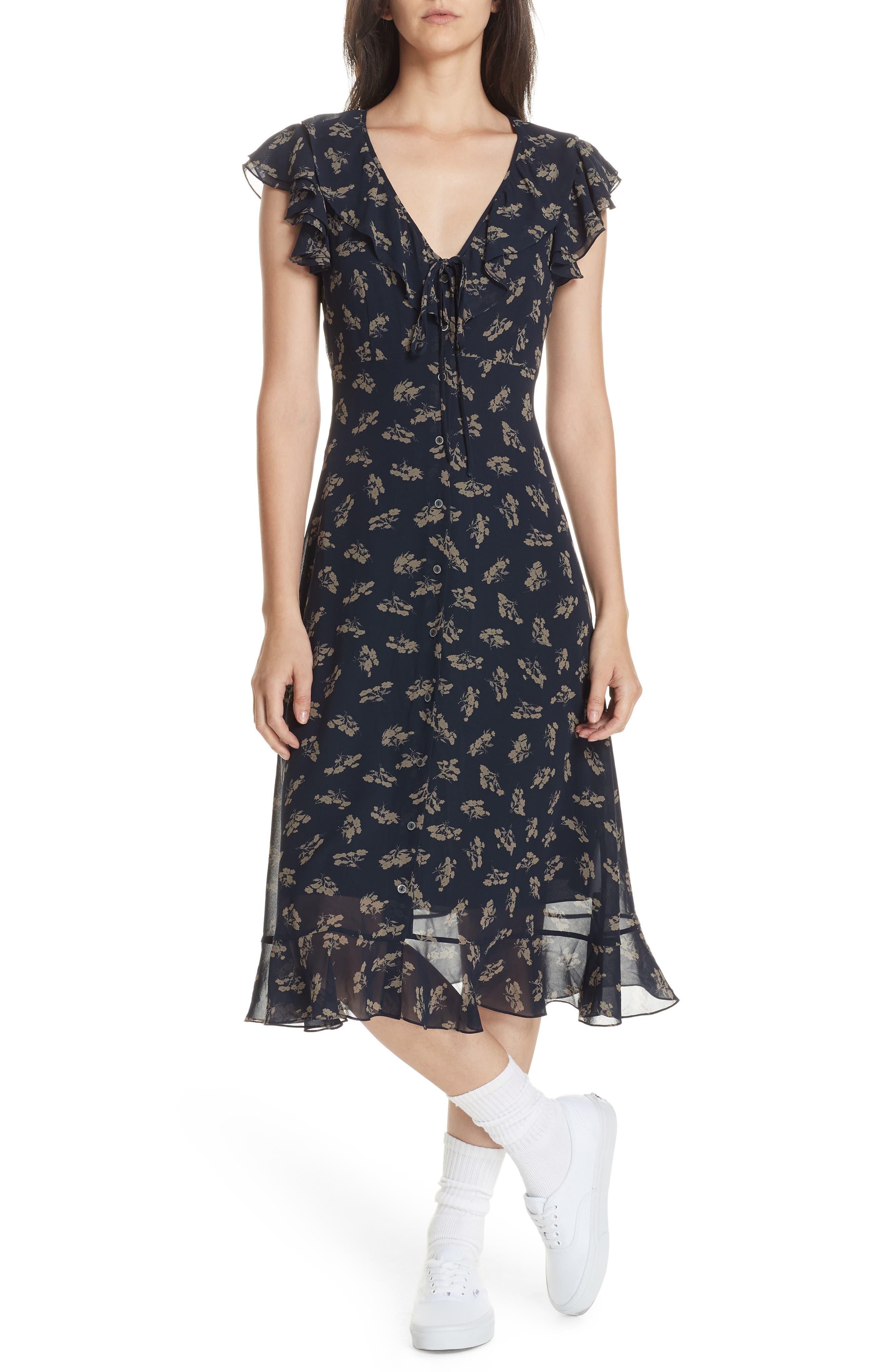 Ruffled Floral Midi Dress,                             Main thumbnail 1, color,                             ETCHING FLORAL
