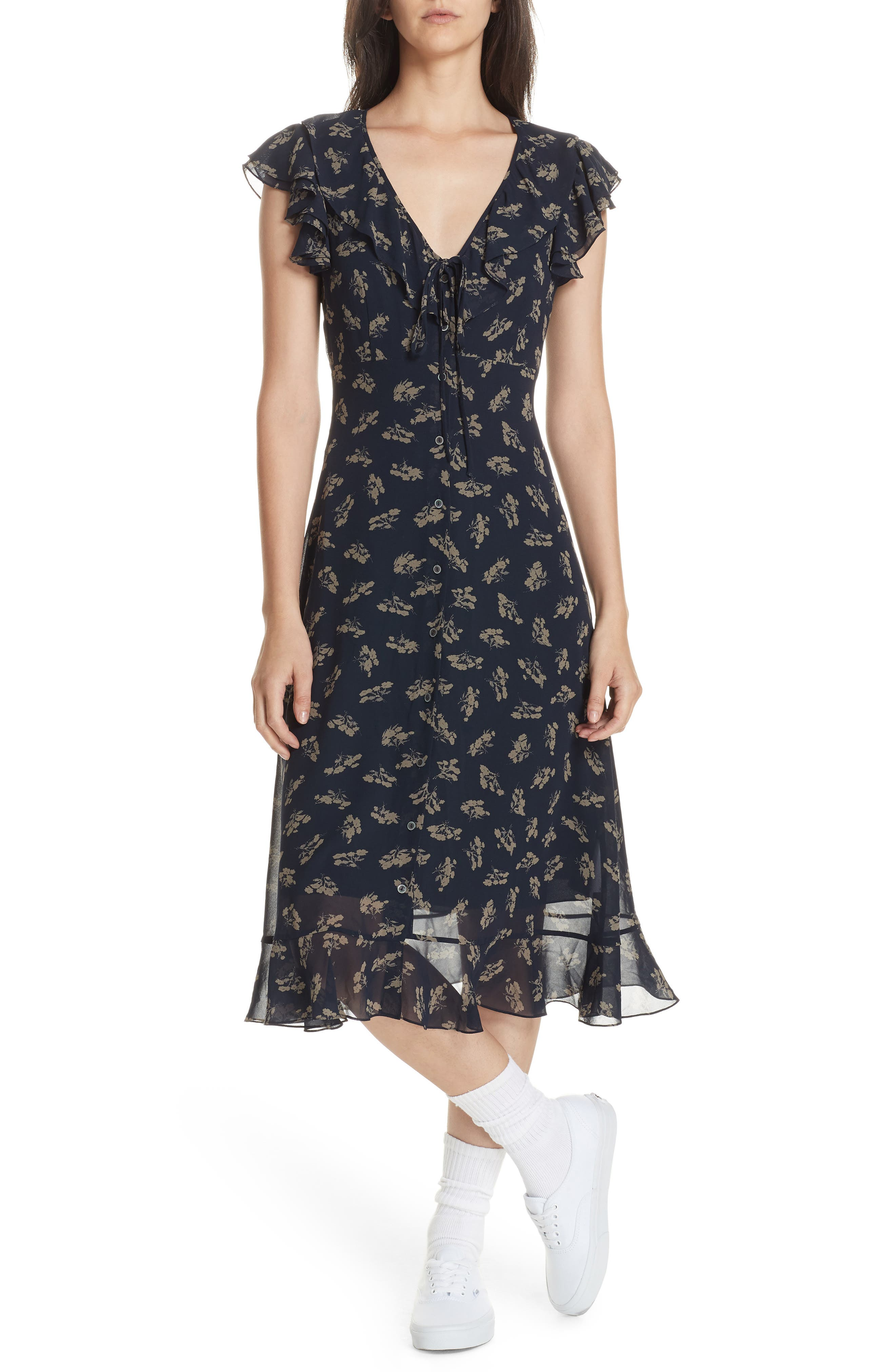 Ruffled Floral Midi Dress,                         Main,                         color, ETCHING FLORAL