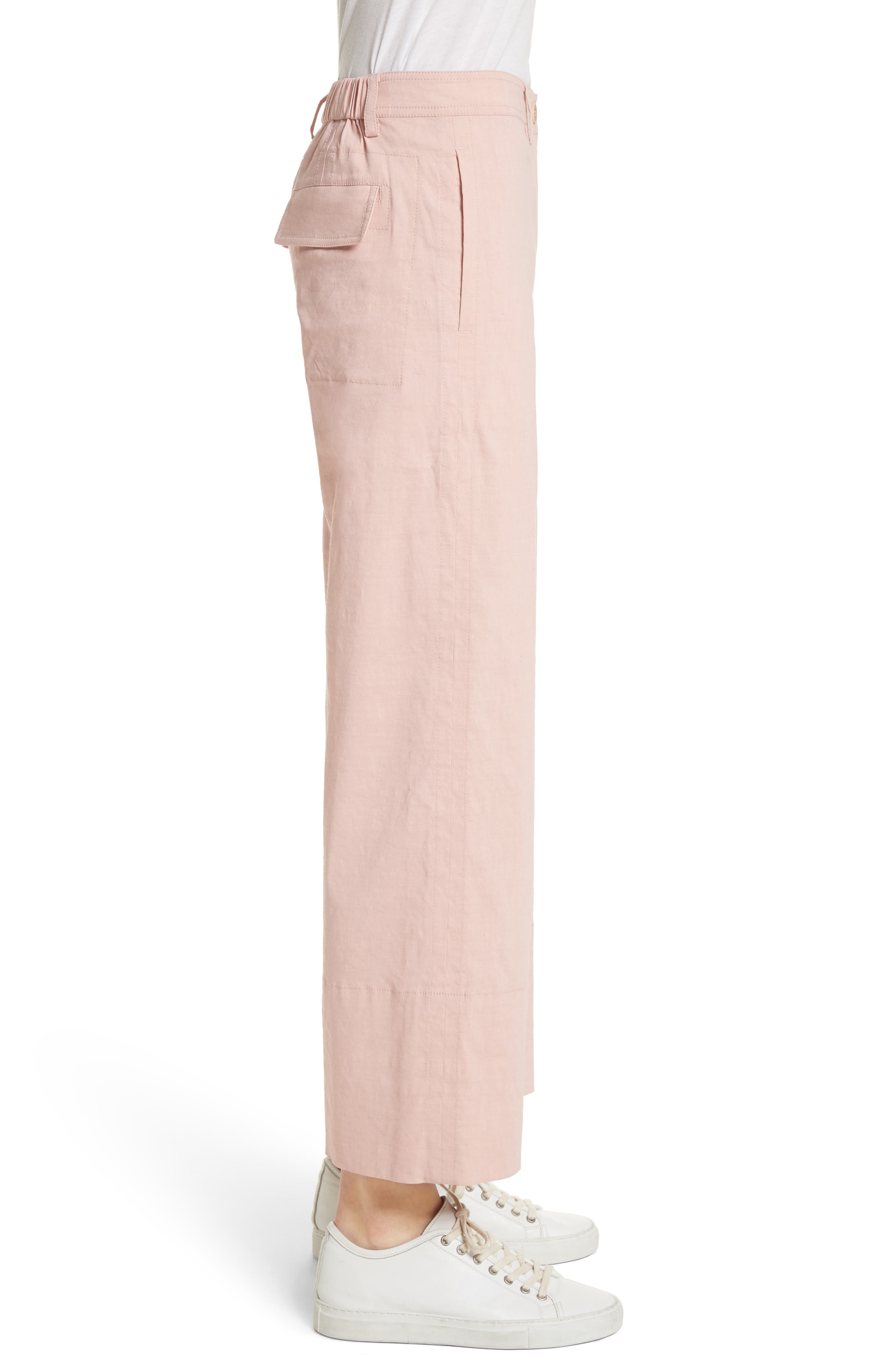 Fluid Wide Leg Crop Pants,                             Alternate thumbnail 3, color,                             658