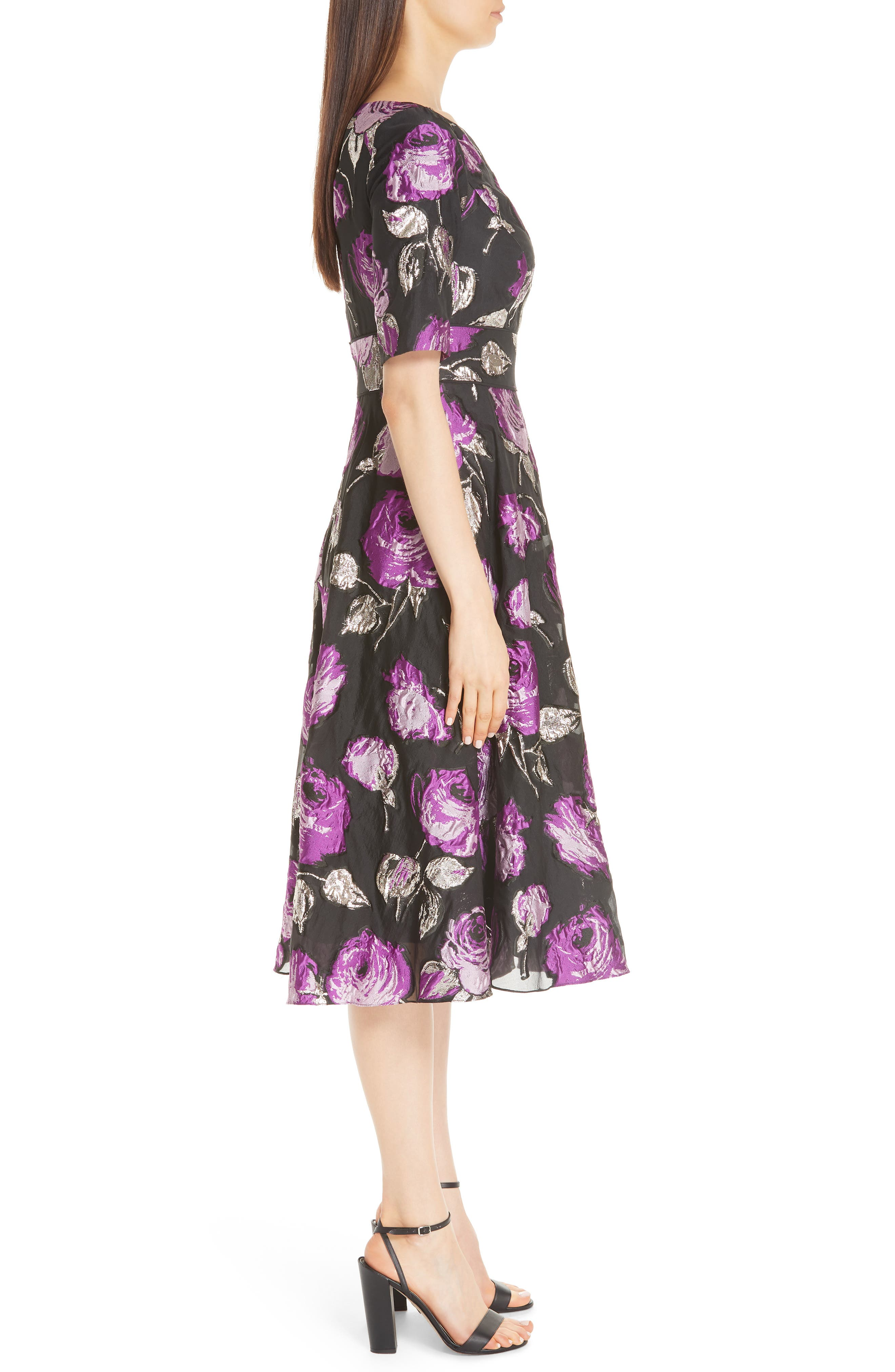 Metallic Floral Fil Coupé Fit & Flare Dress,                             Alternate thumbnail 3, color,                             LAVENDER/ BLACK