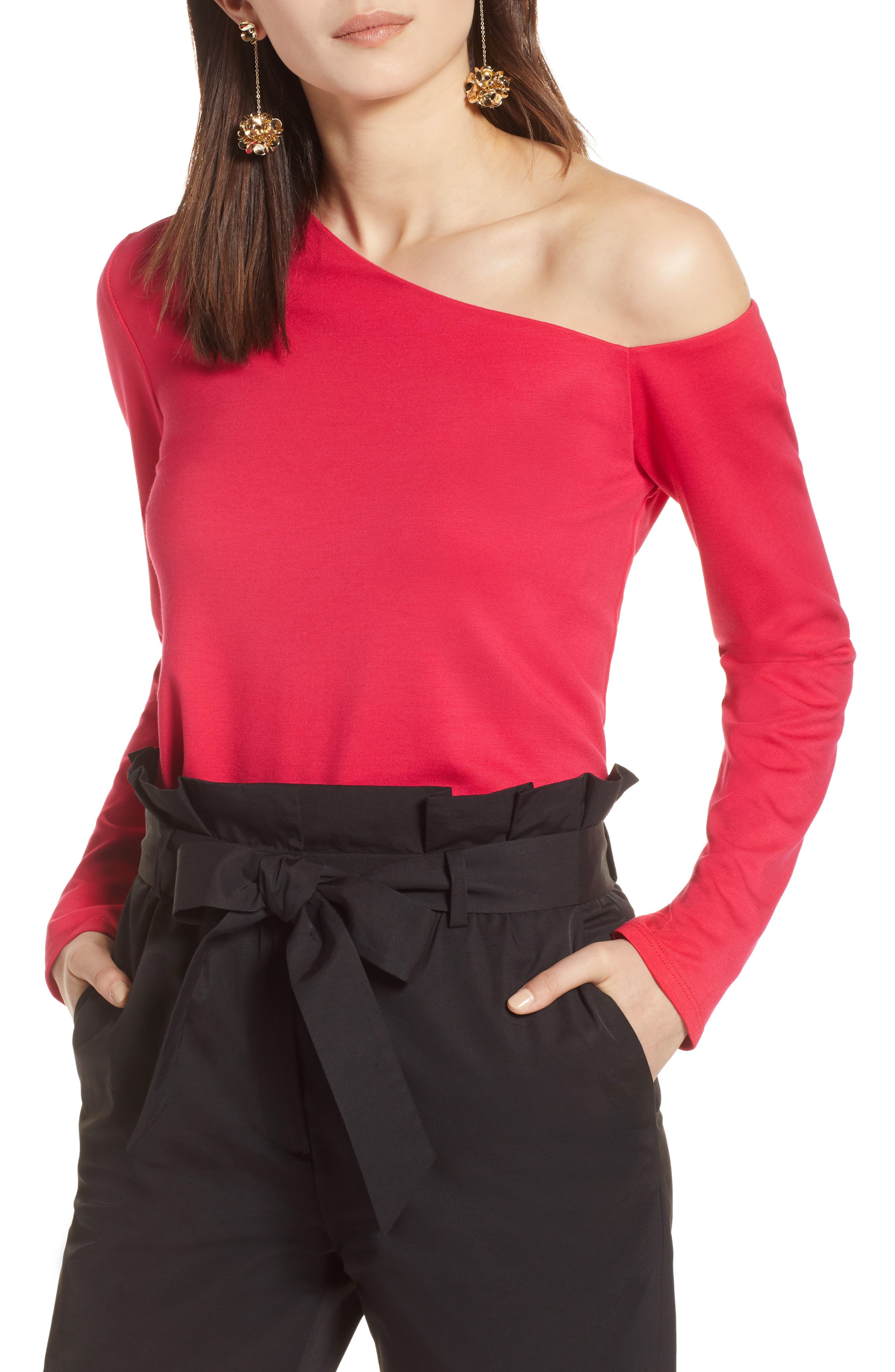 One-Shoulder Knit Tee,                             Main thumbnail 4, color,