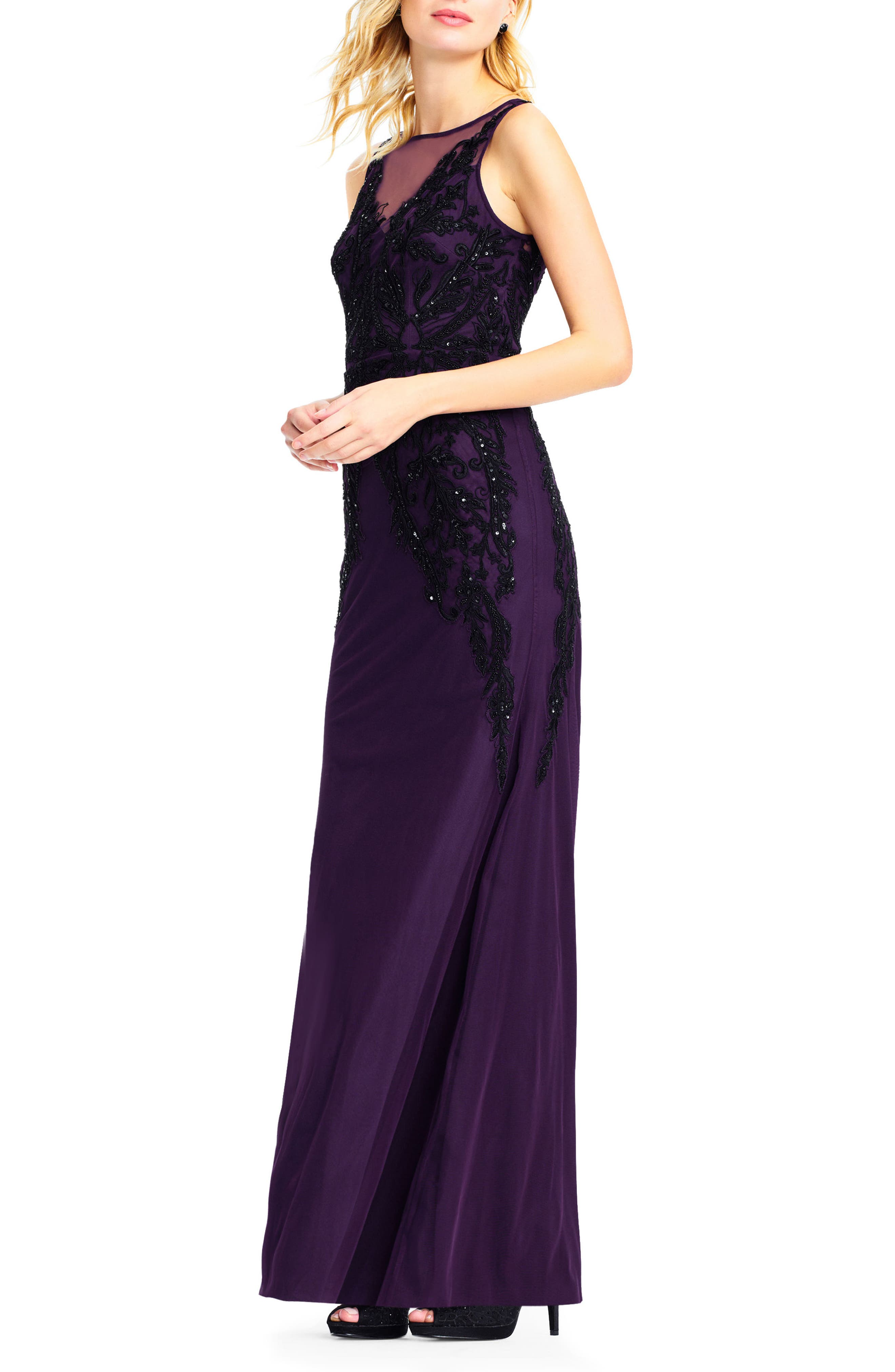 Beaded Illusion Sheath Gown,                             Alternate thumbnail 3, color,                             502