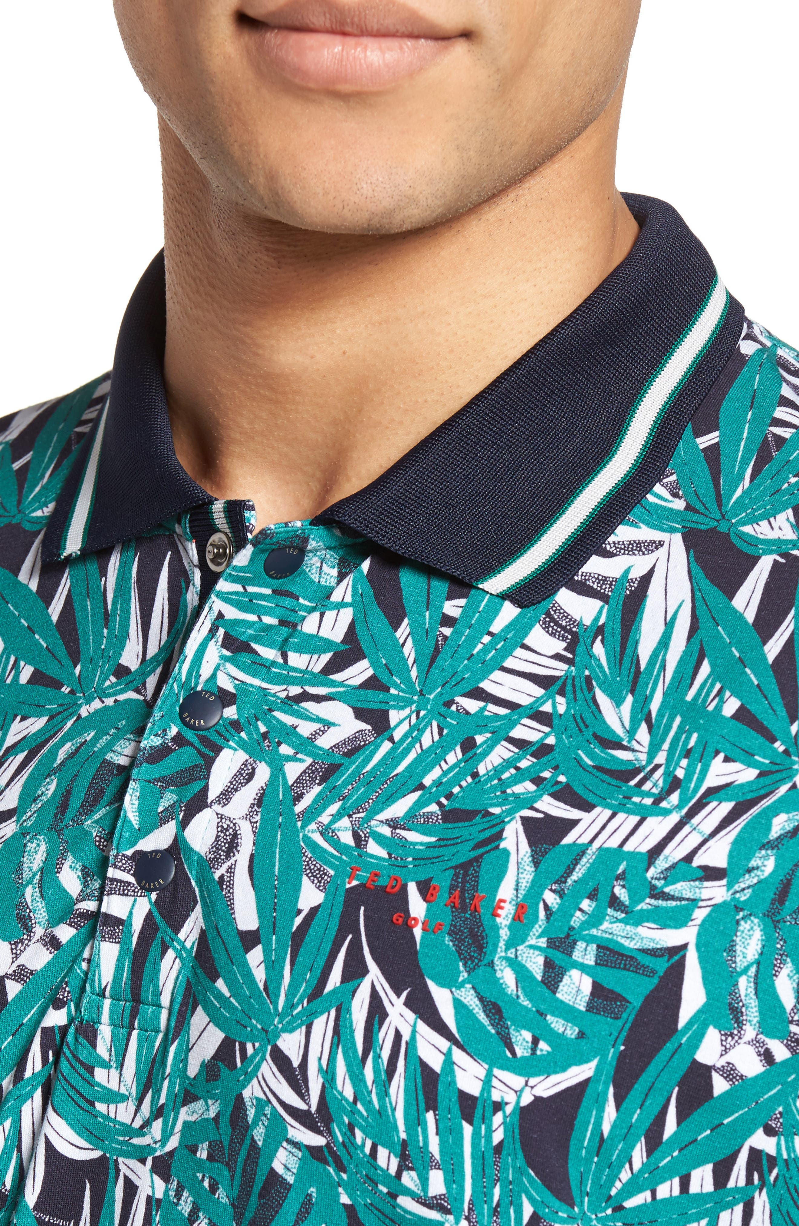Legolf Leaf Print Golf Polo,                             Alternate thumbnail 4, color,                             311