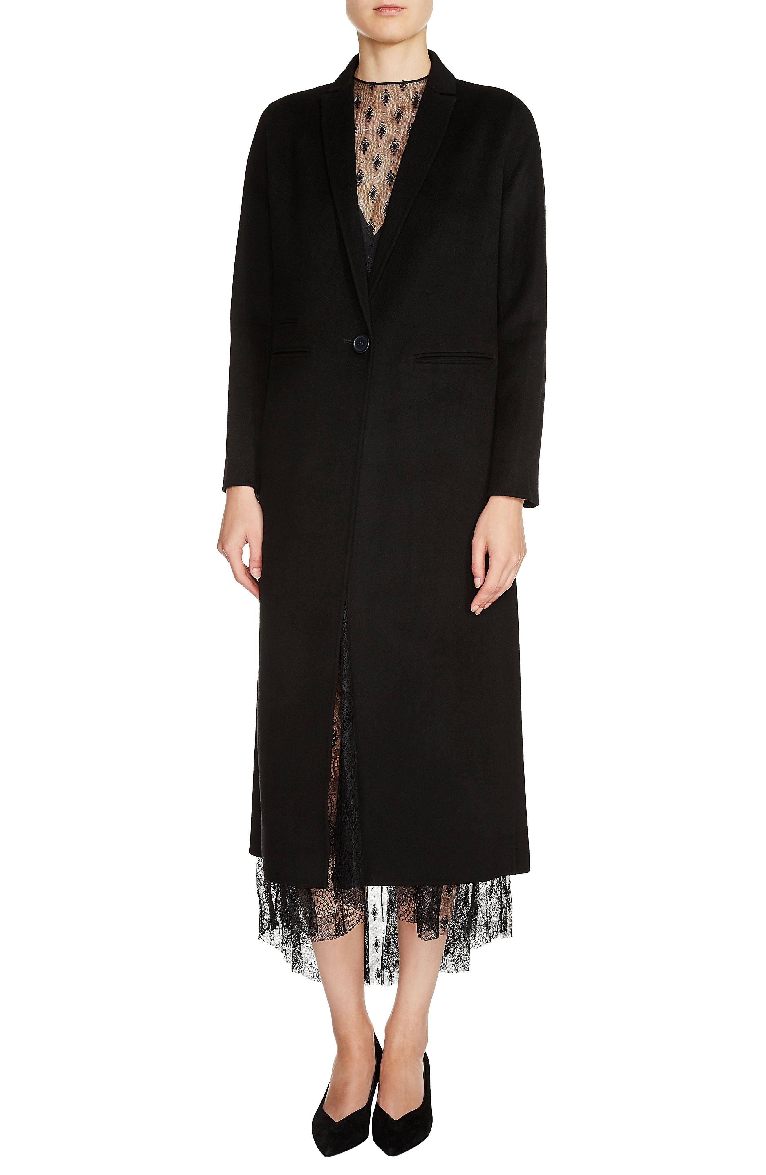 Long Double Face Wool Blend Coat,                             Main thumbnail 1, color,                             001