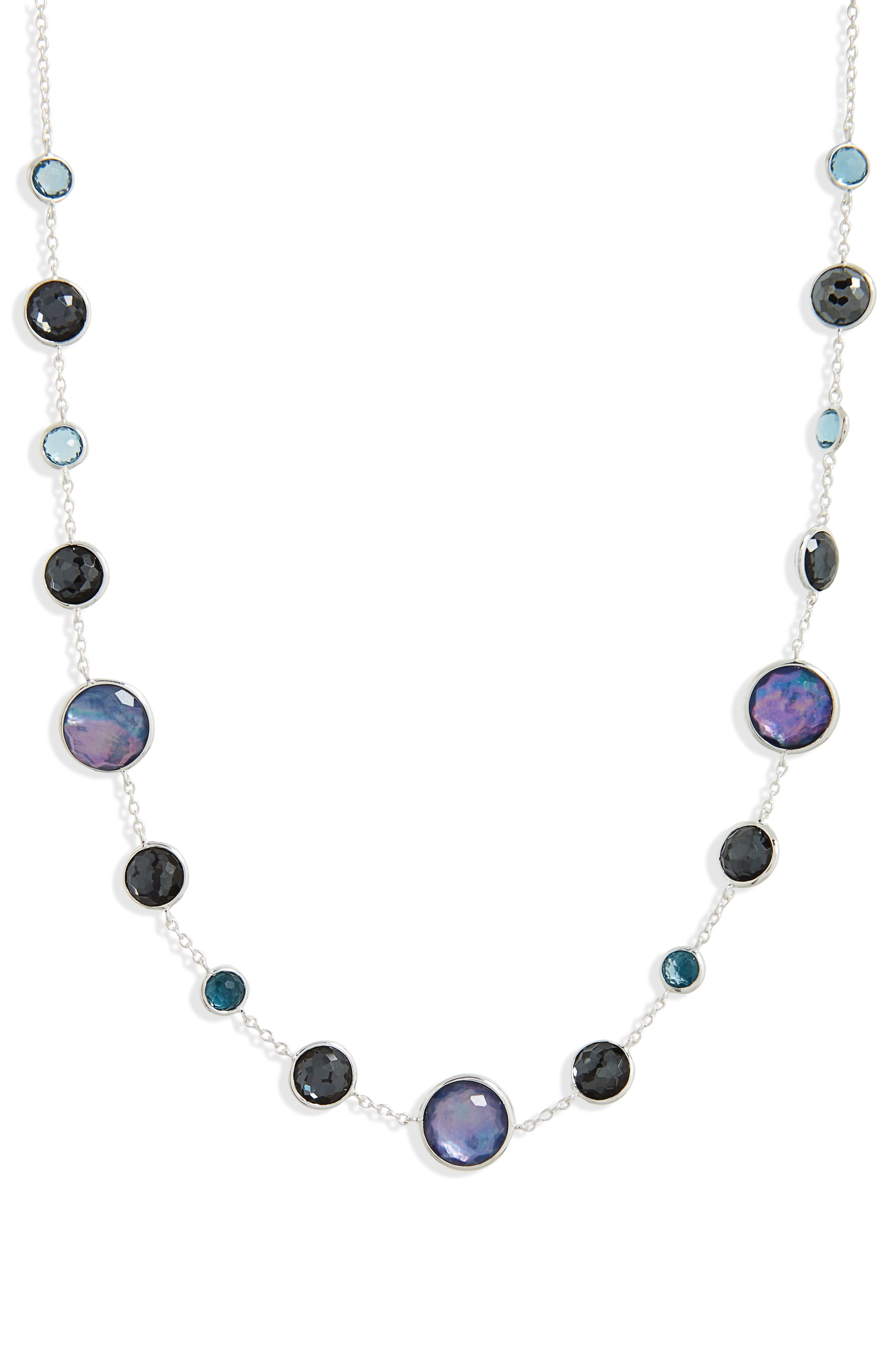 Semiprecious Stone Collar Necklace,                             Main thumbnail 1, color,                             BLUE
