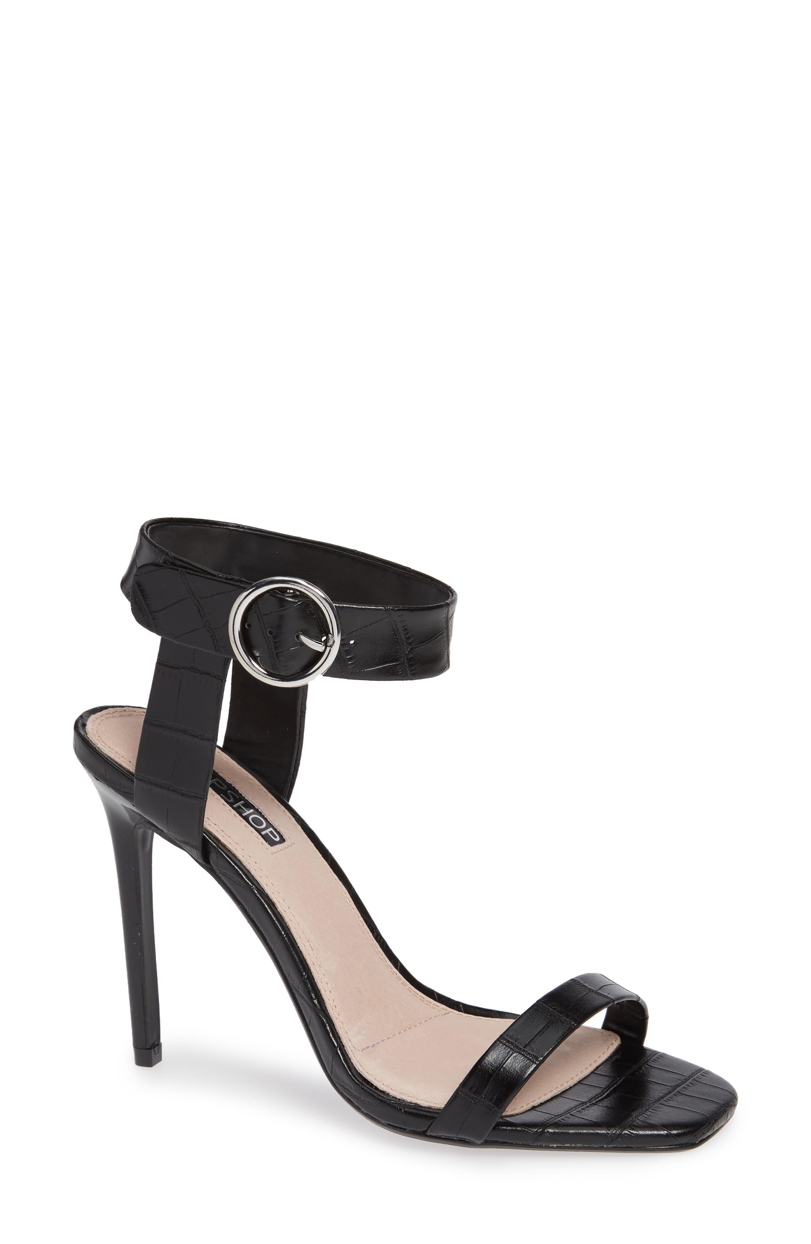 Ria Ankle Cuff Sandal,                         Main,                         color, BLACK