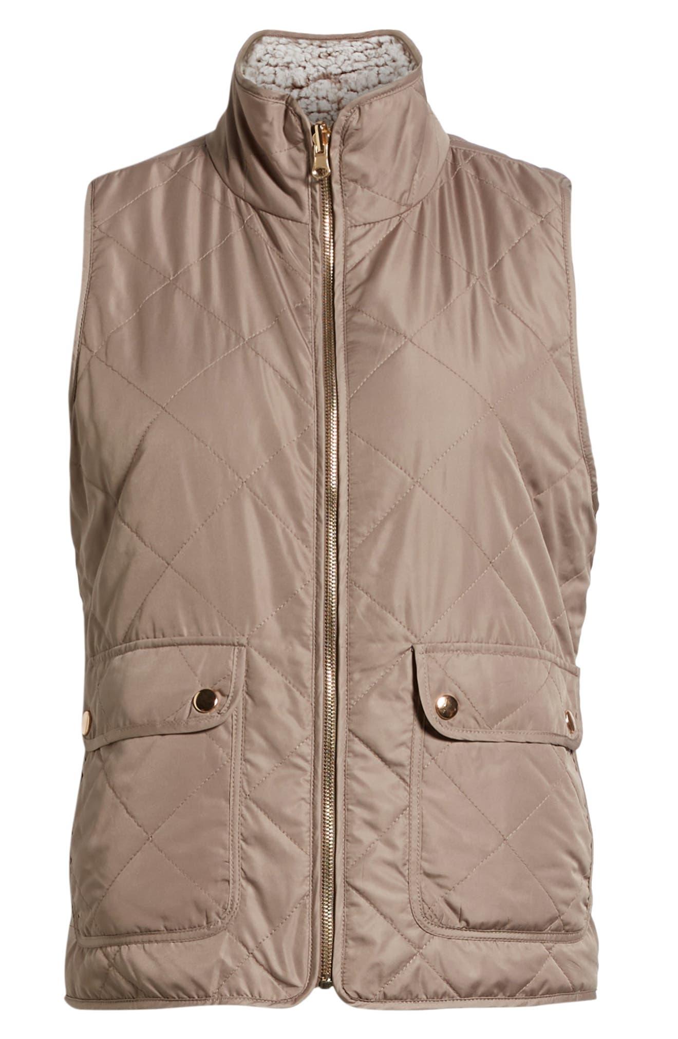 Reversible Fleece Lined Quilted Vest,                             Alternate thumbnail 7, color,                             MUSHROOM