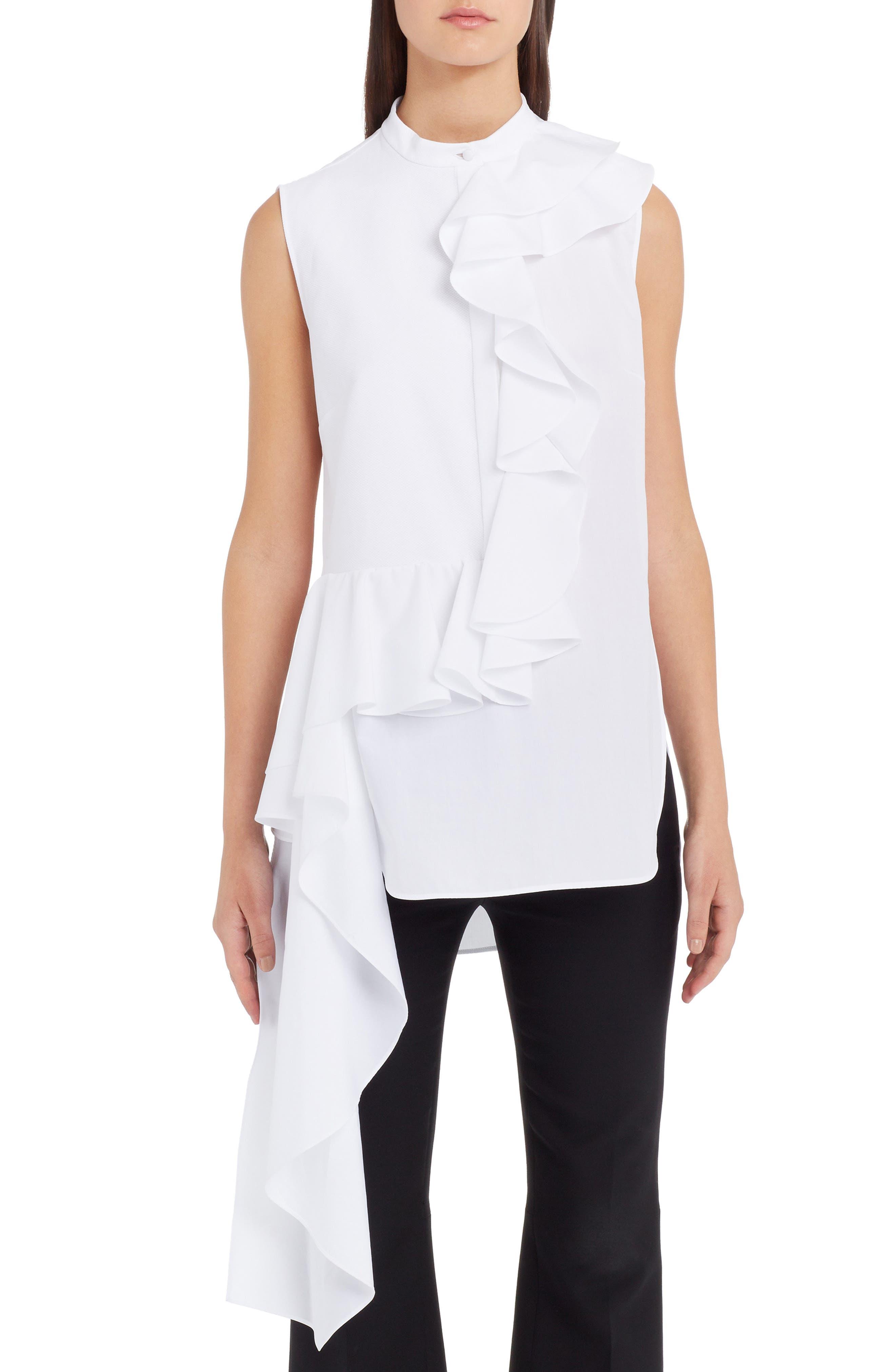 Ruffle Poplin Blouse,                         Main,                         color, WHITE