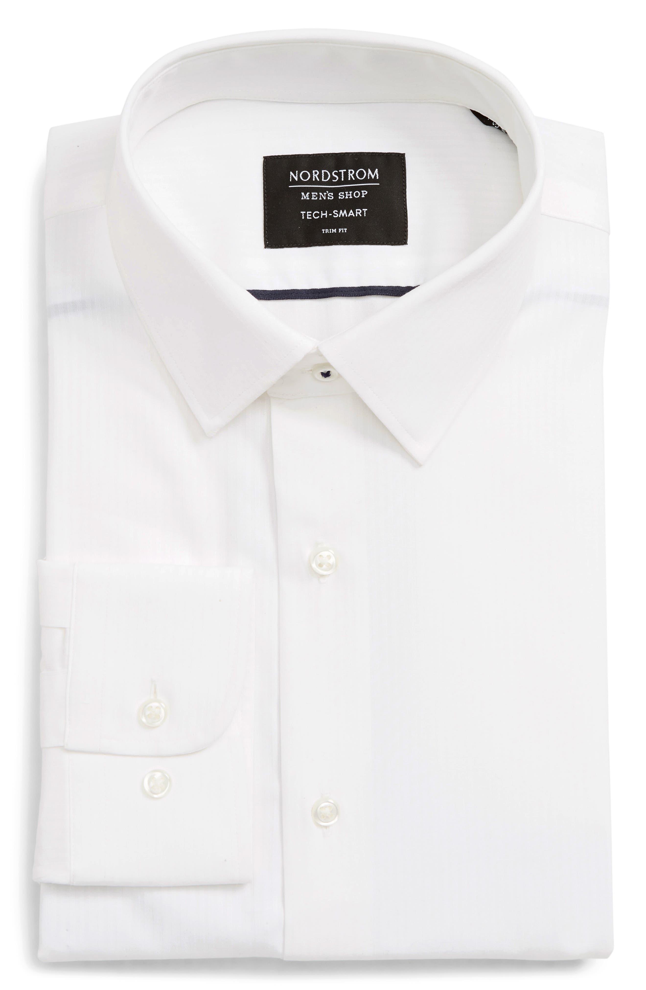 Tech-Smart Trim Fit Stretch Stripe Dress Shirt,                         Main,                         color, WHITE