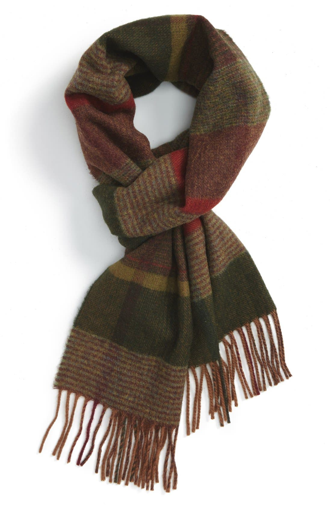 BARBOUR 'New Country Plaid' Lambswool Scarf, Main, color, 340