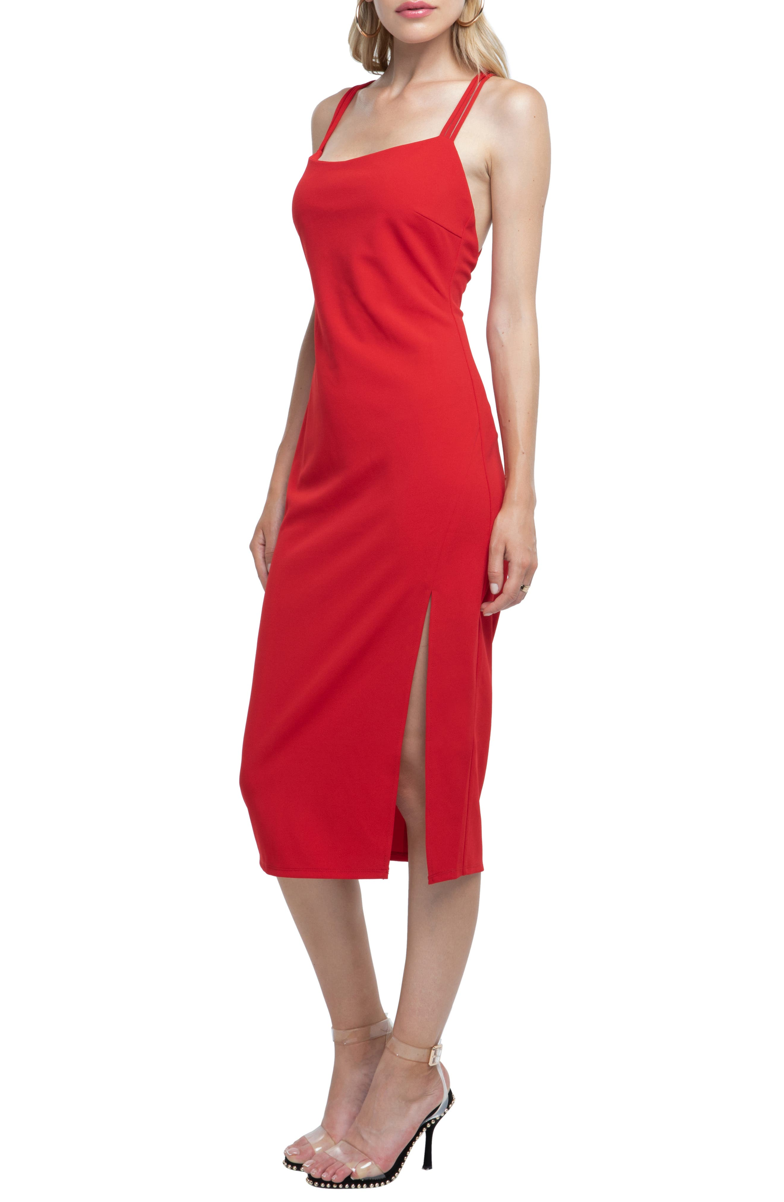 Strappy Back Sheath Dress,                             Alternate thumbnail 3, color,                             RED