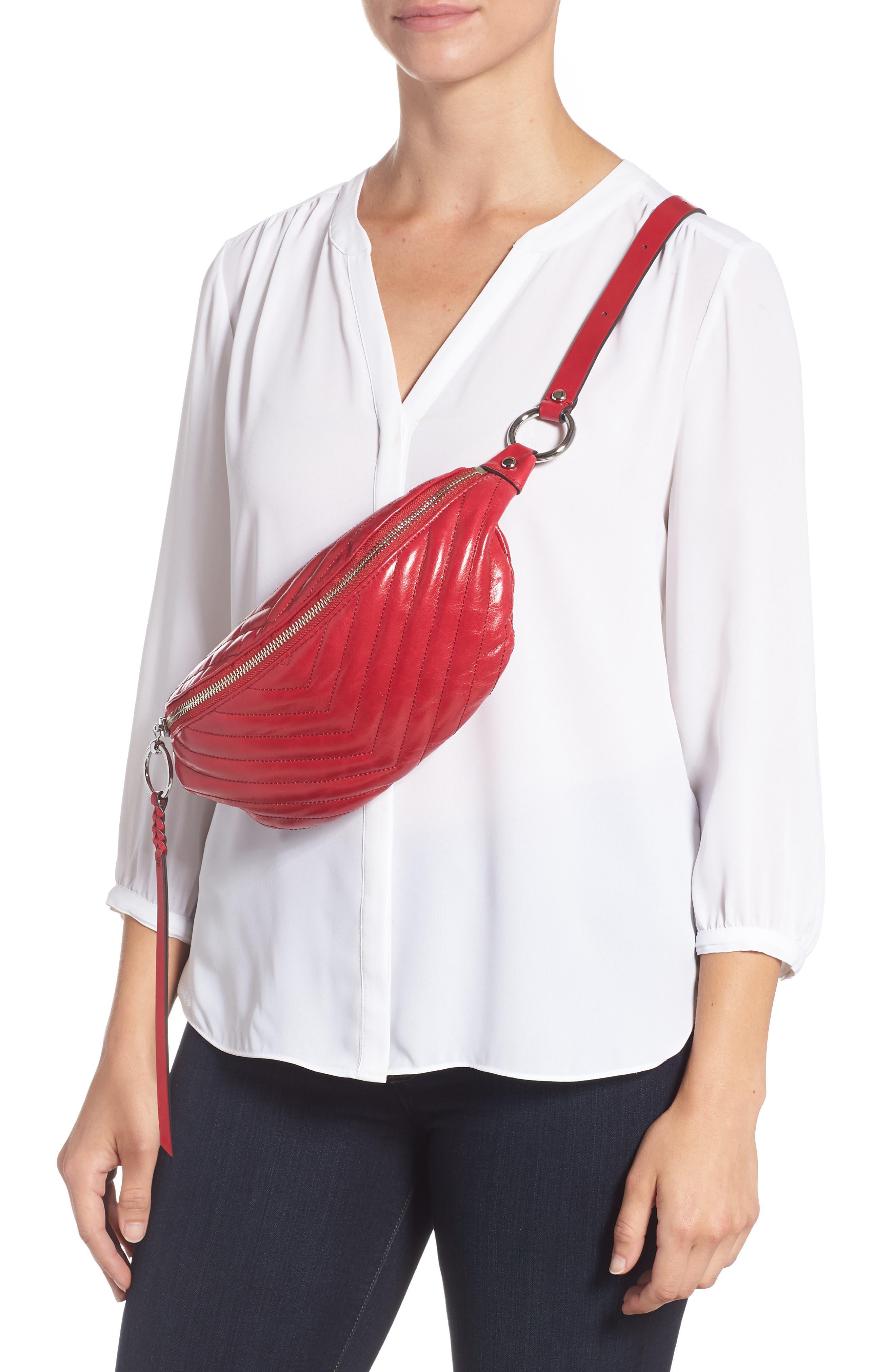 Edie Leather Belt Bag,                             Alternate thumbnail 3, color,                             SCARLET