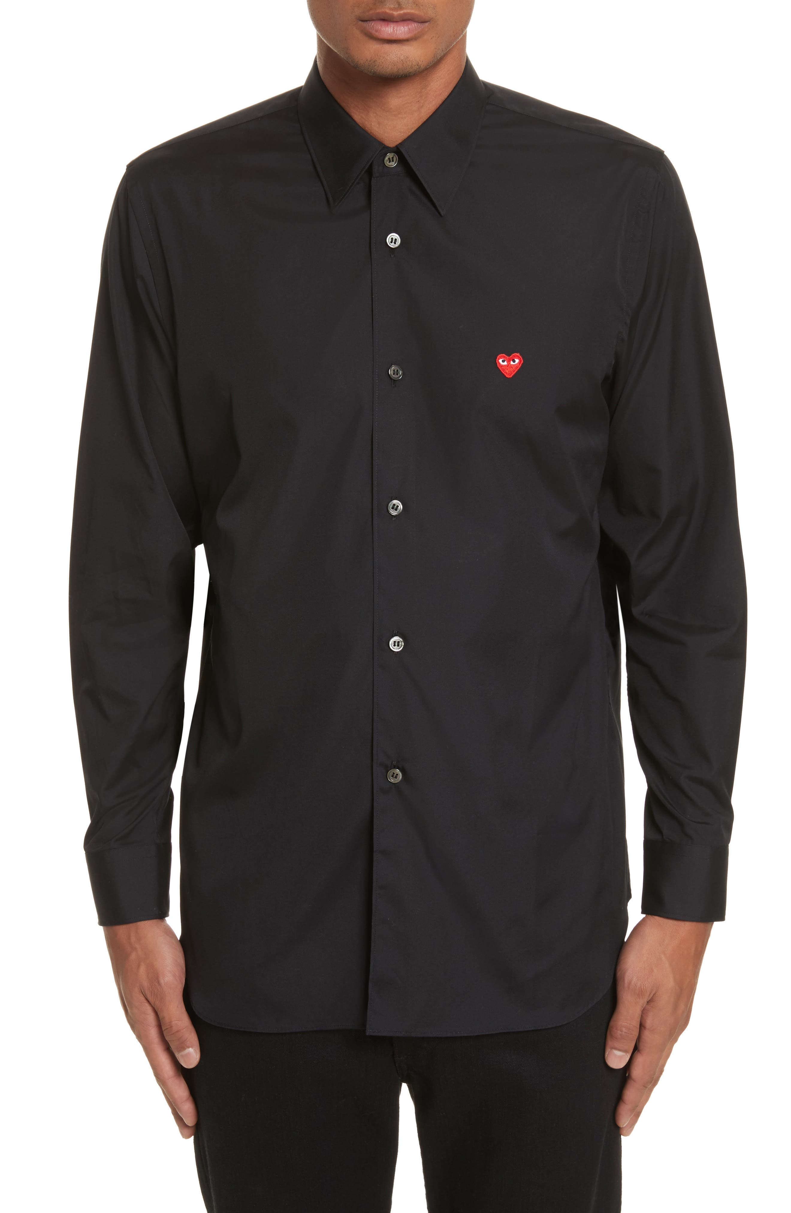 Trim Fit Oxford Shirt,                             Main thumbnail 1, color,                             BLACK