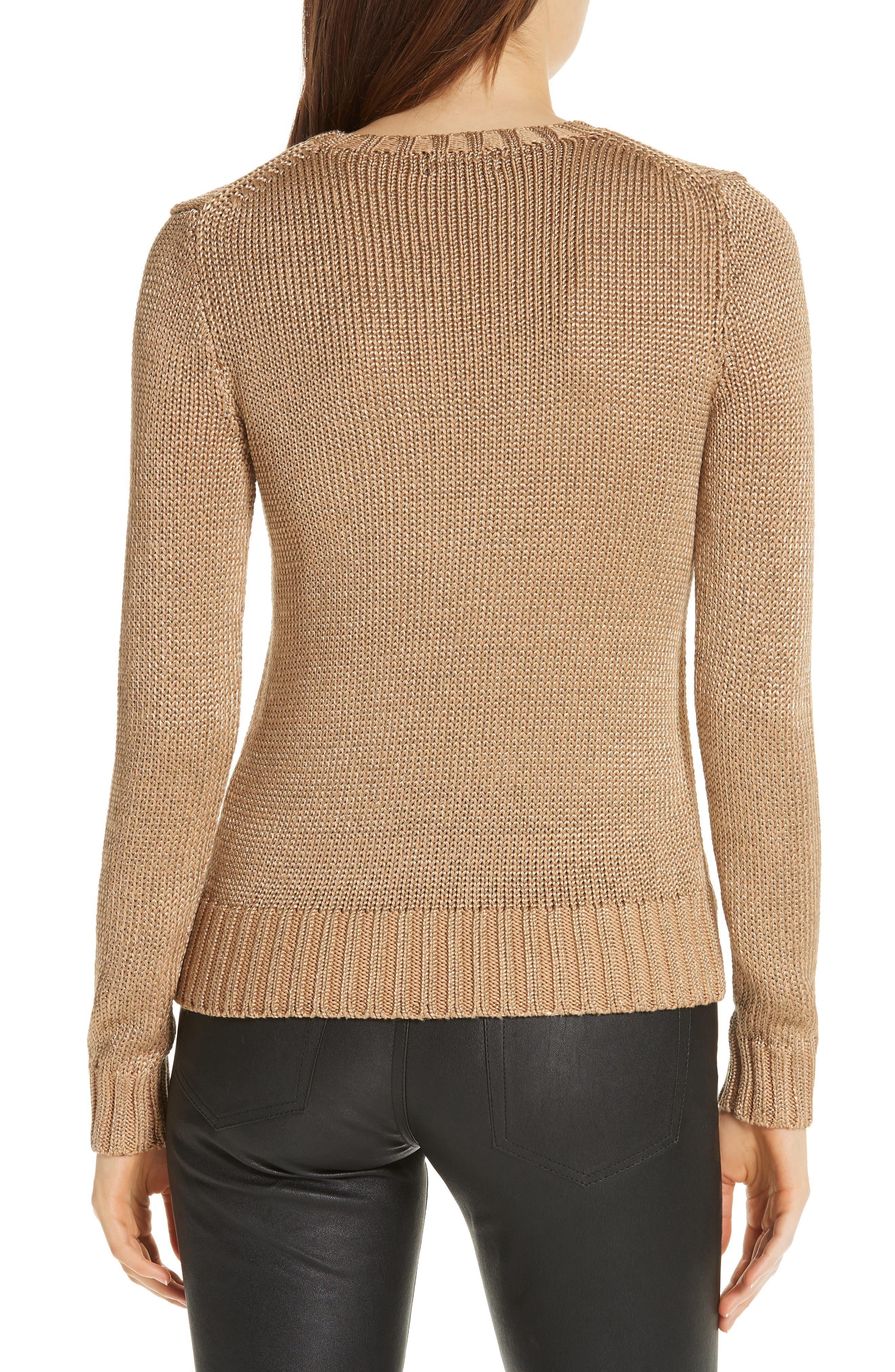 Metallic Cotton Blend Flag Sweater,                             Alternate thumbnail 2, color,                             GOLD MULTI