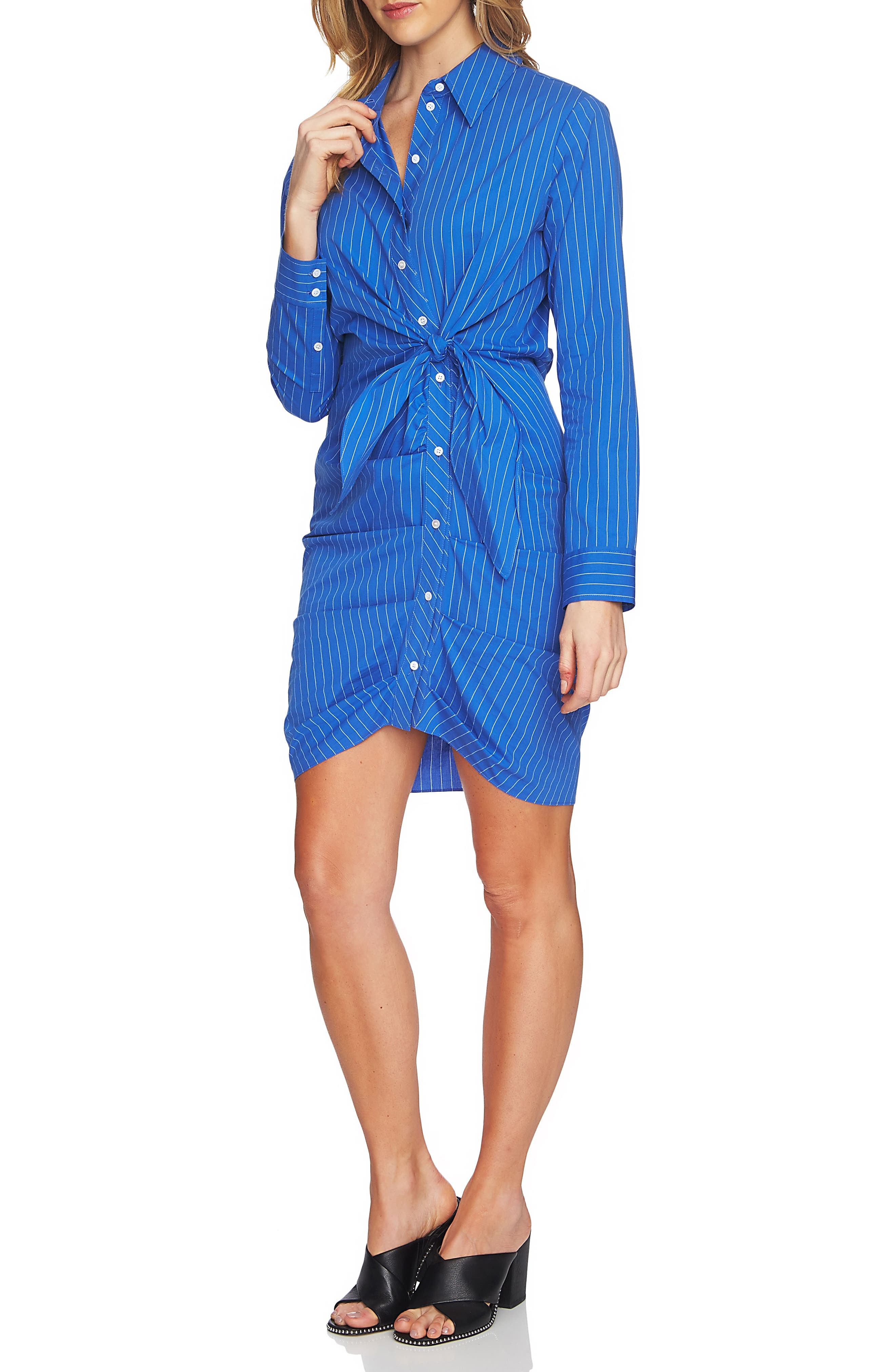 Ruched Button Down Shirtdress,                             Main thumbnail 1, color,
