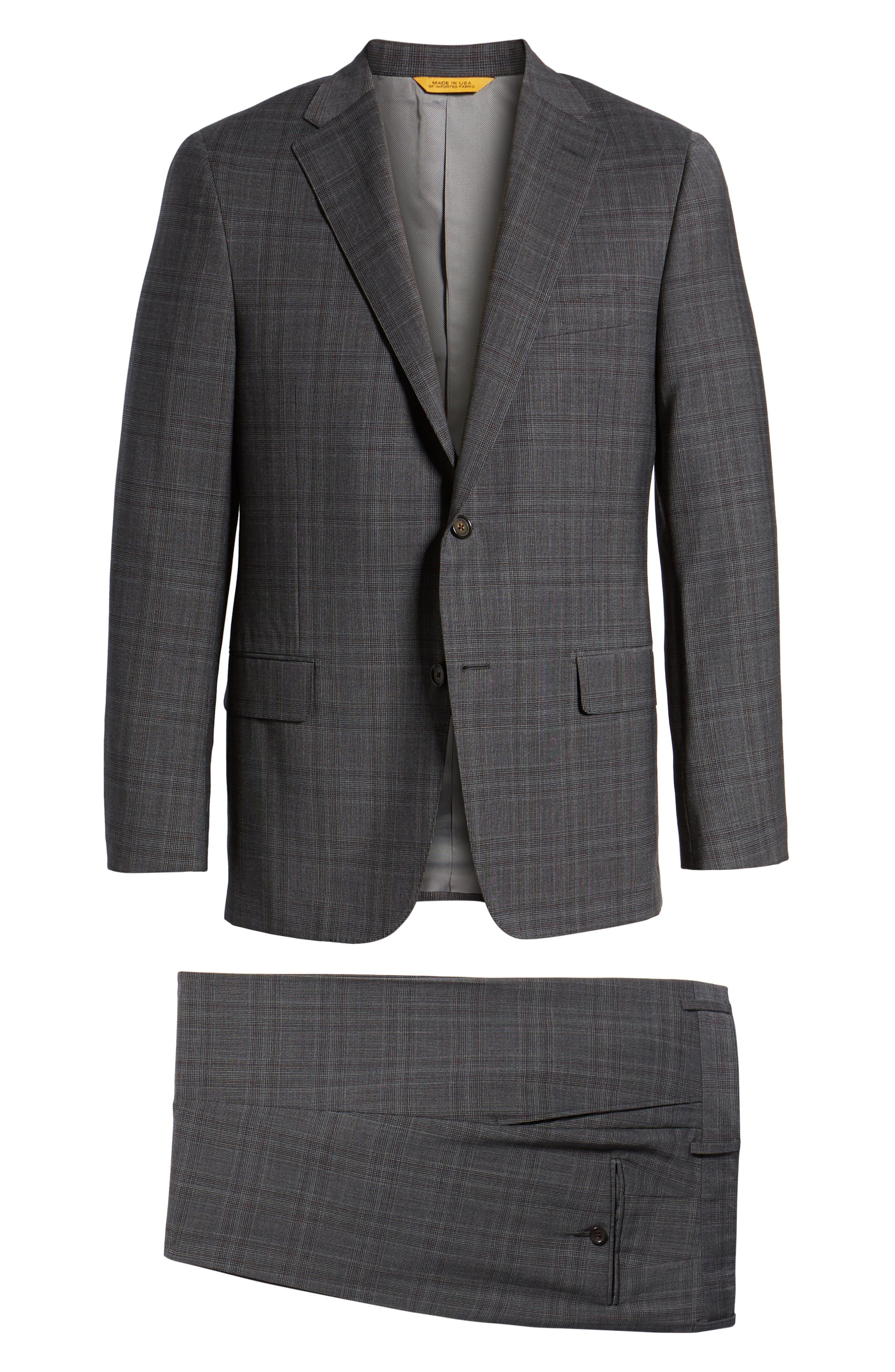 Classic Fit Plaid Wool Suit,                             Alternate thumbnail 8, color,                             CHARCOAL