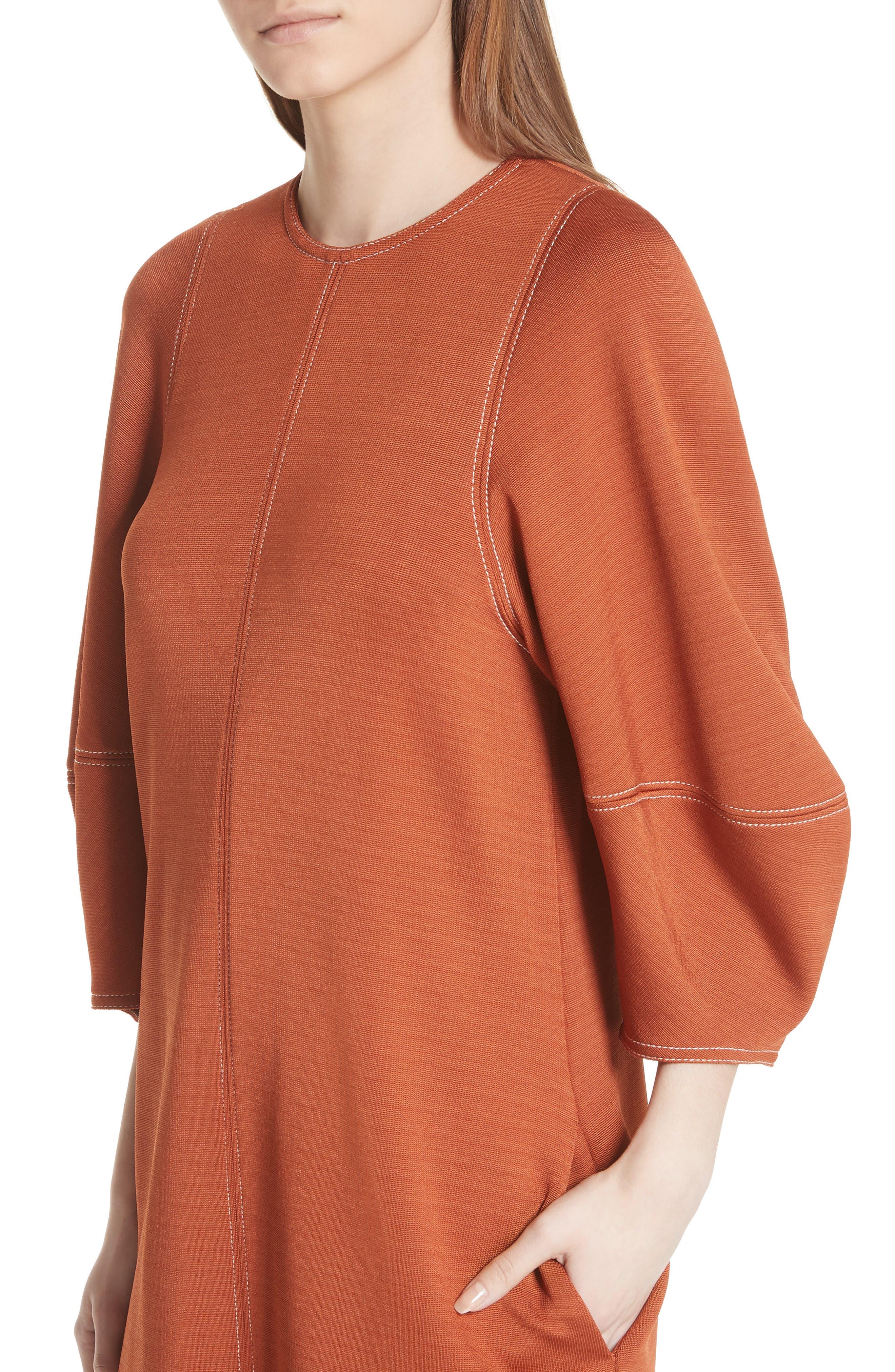 Balloon Sleeve Crepe Knit Midi Dress,                             Alternate thumbnail 4, color,                             620