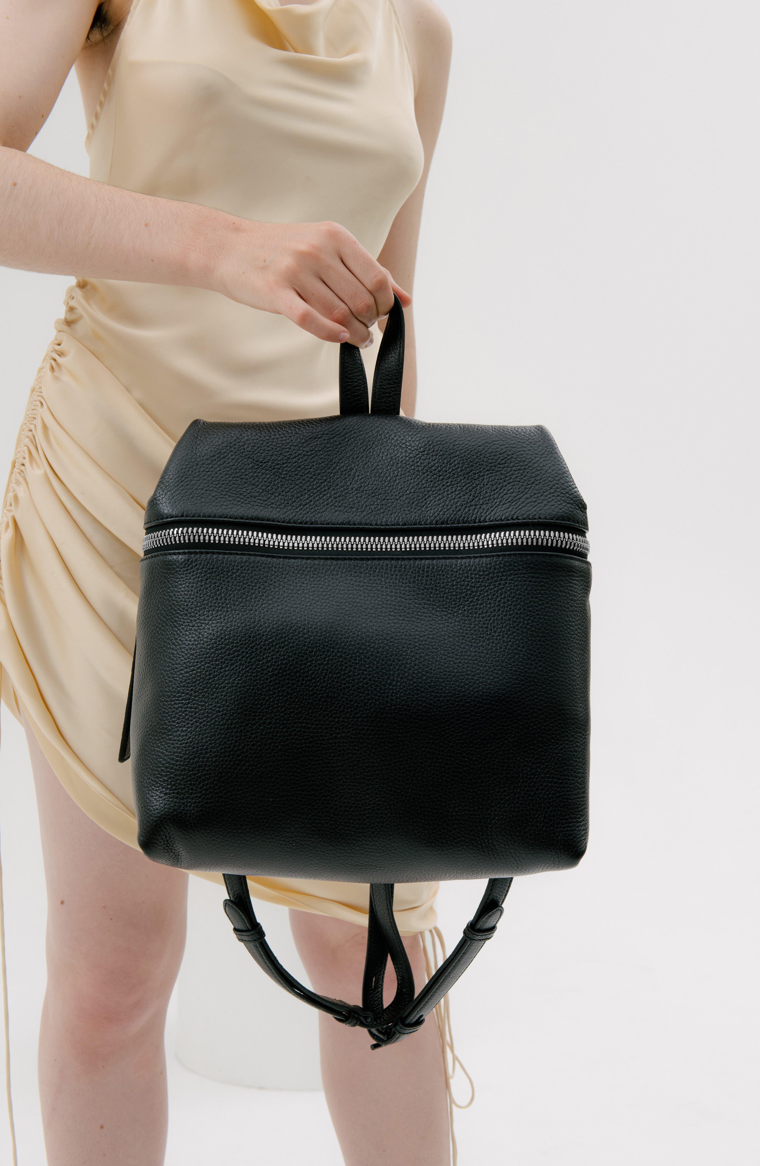 Leather Backpack,                             Alternate thumbnail 11, color,                             BLACK